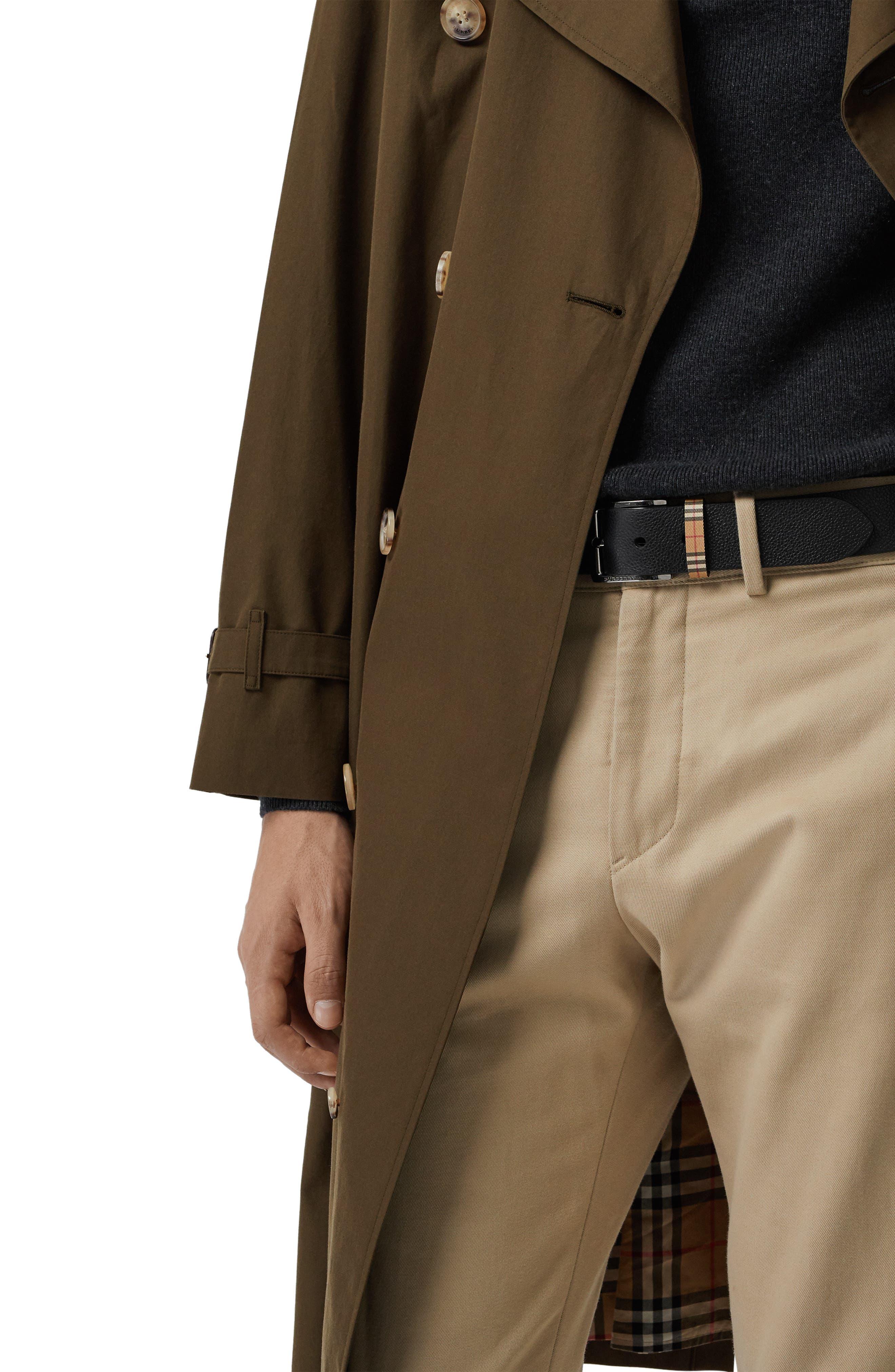 BURBERRY,                             Grainy Leather Belt,                             Alternate thumbnail 2, color,                             BLACK