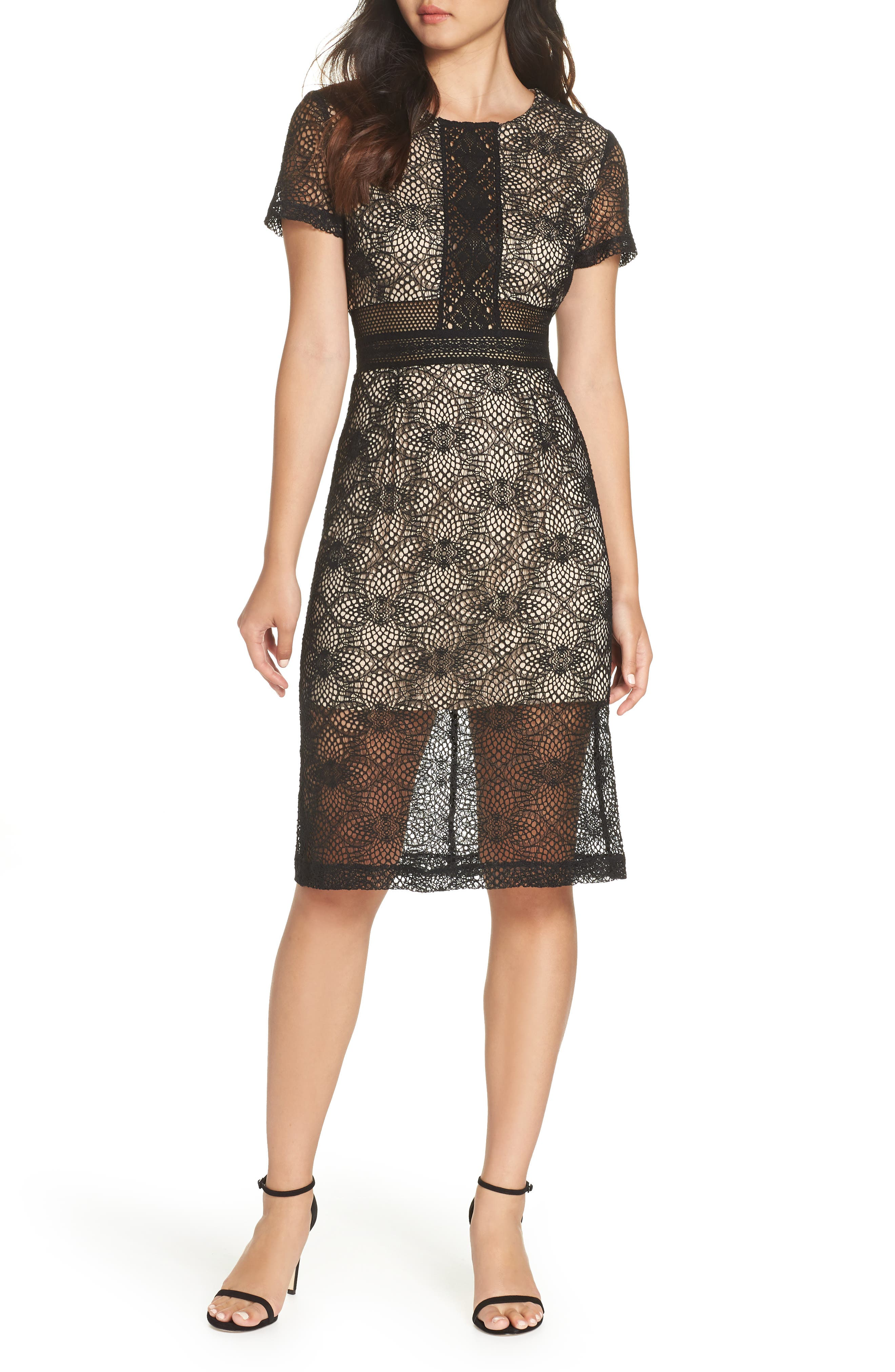 Juliette Lace Sheath Dress,                         Main,                         color, BLACK