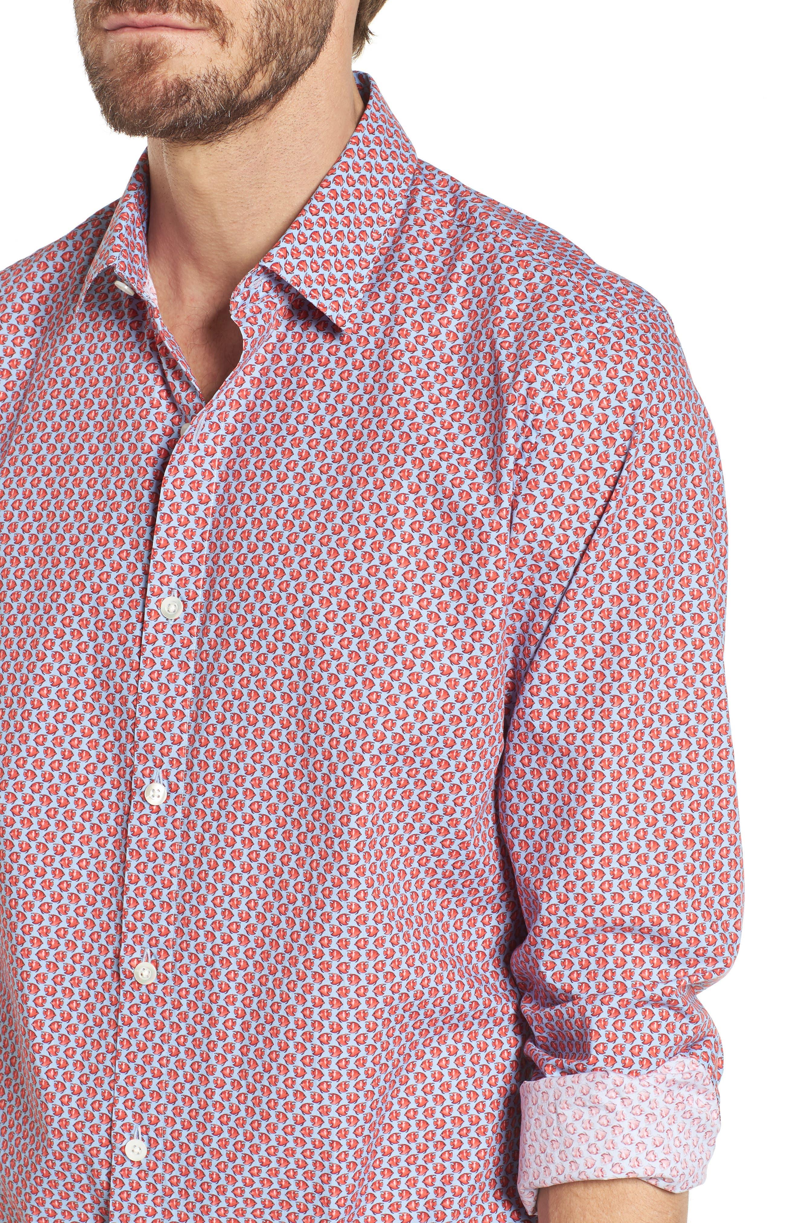 Premium Slim Fit Print Sport Shirt,                             Alternate thumbnail 4, color,                             600