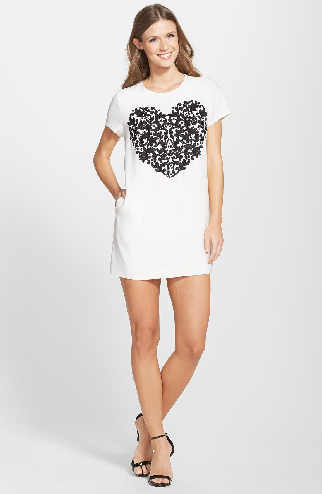 by Cynthia Steffe 'Moss' Embroidered Heart Crepe Shift Dress,                             Alternate thumbnail 2, color,                             900