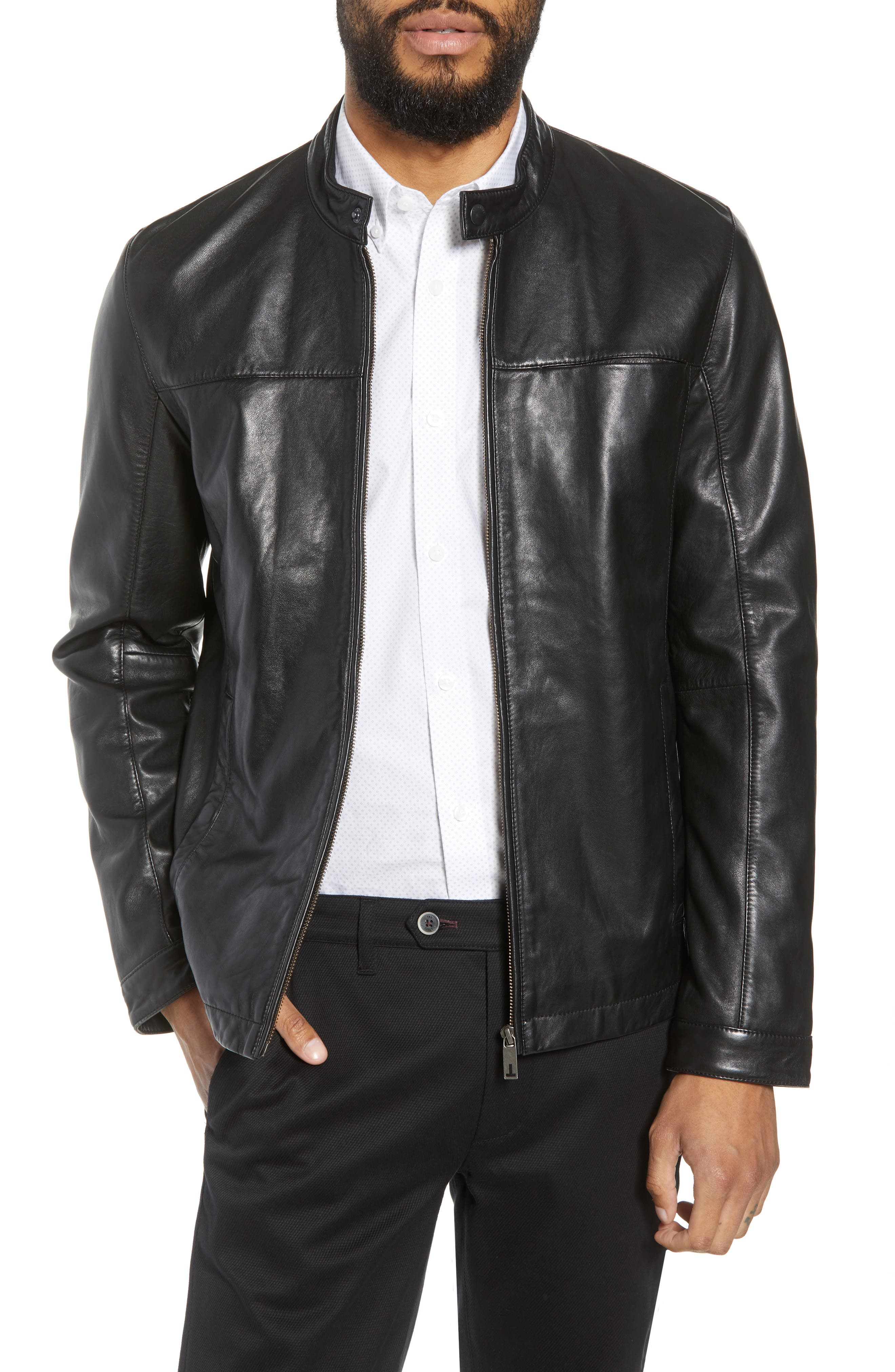 Ginga Trim Fit Leather Jacket,                         Main,                         color, BLACK