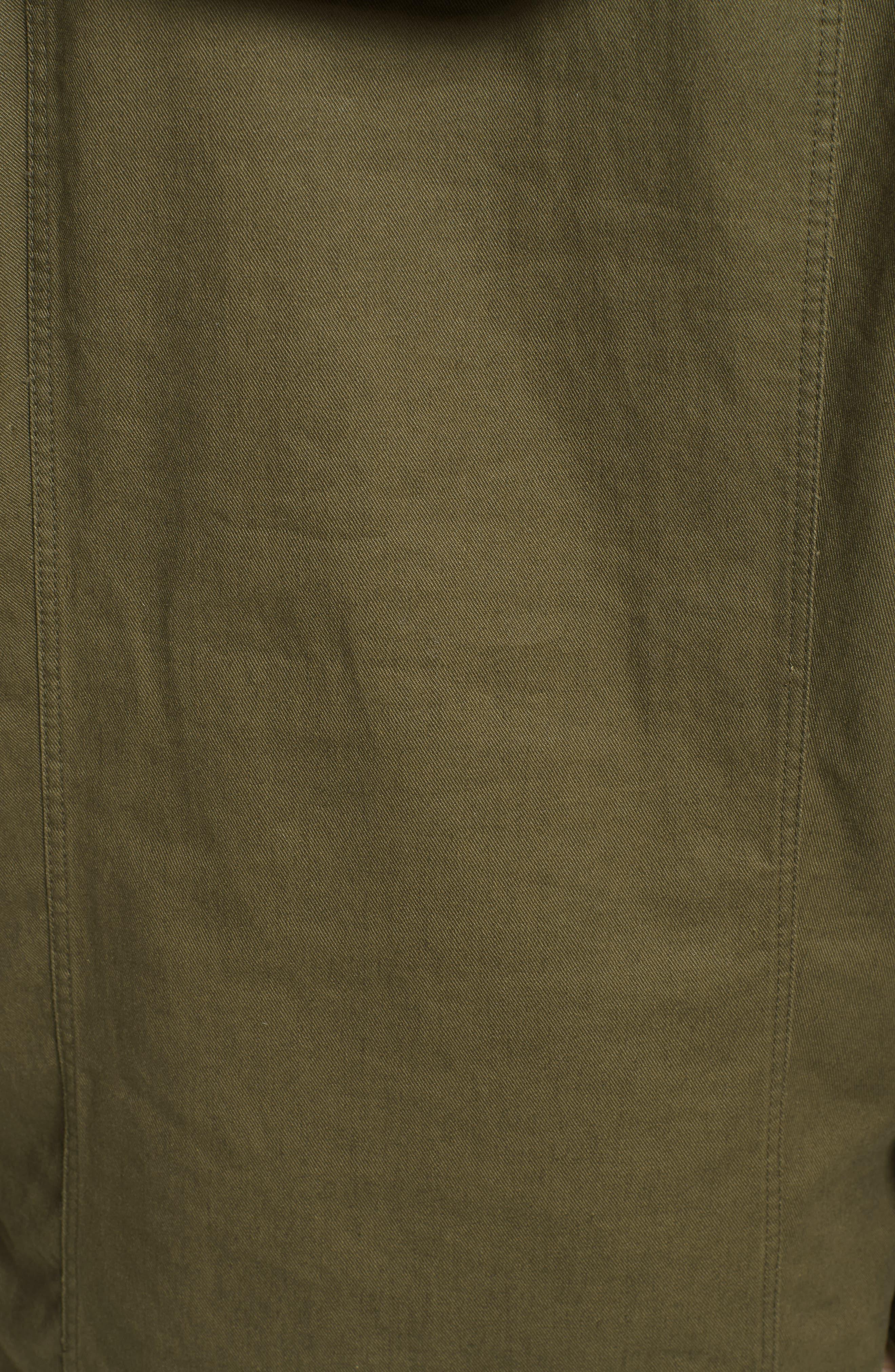 Patch Embellished Cotton Blend Gabardine Dress,                             Alternate thumbnail 6, color,