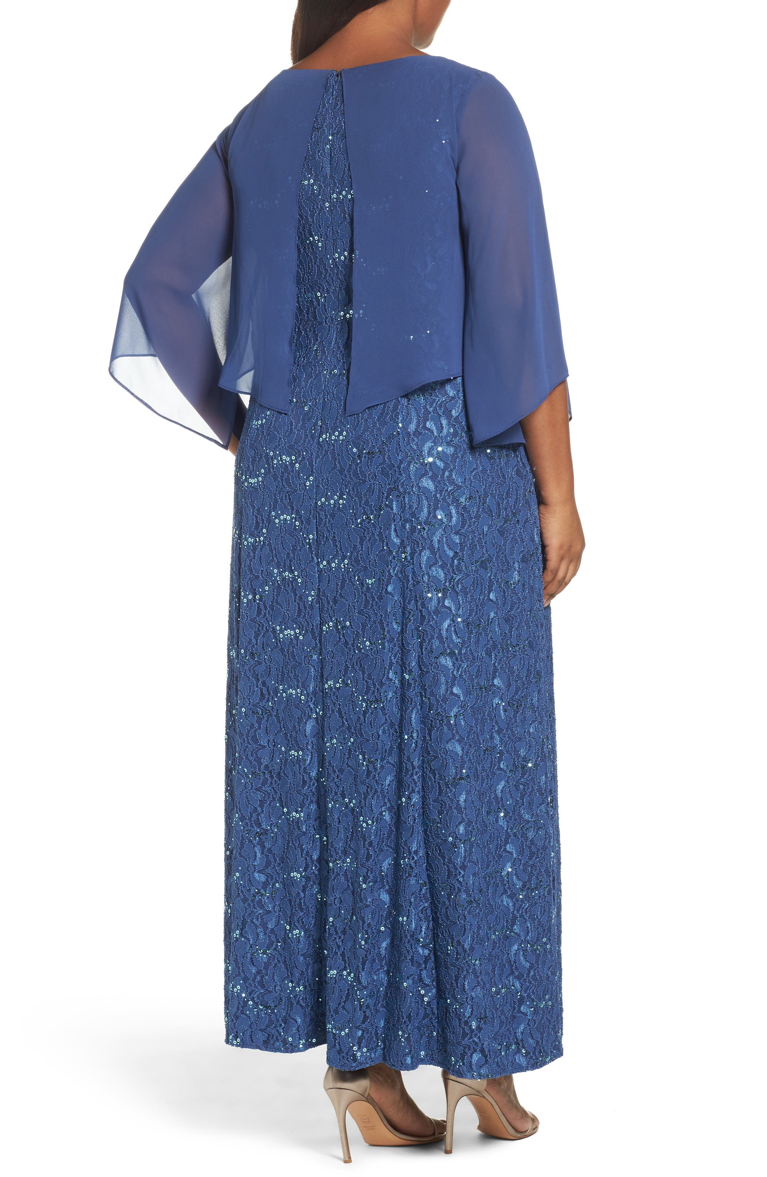 V-Neck Lace Gown with Capelet Overlay,                             Alternate thumbnail 2, color,                             422