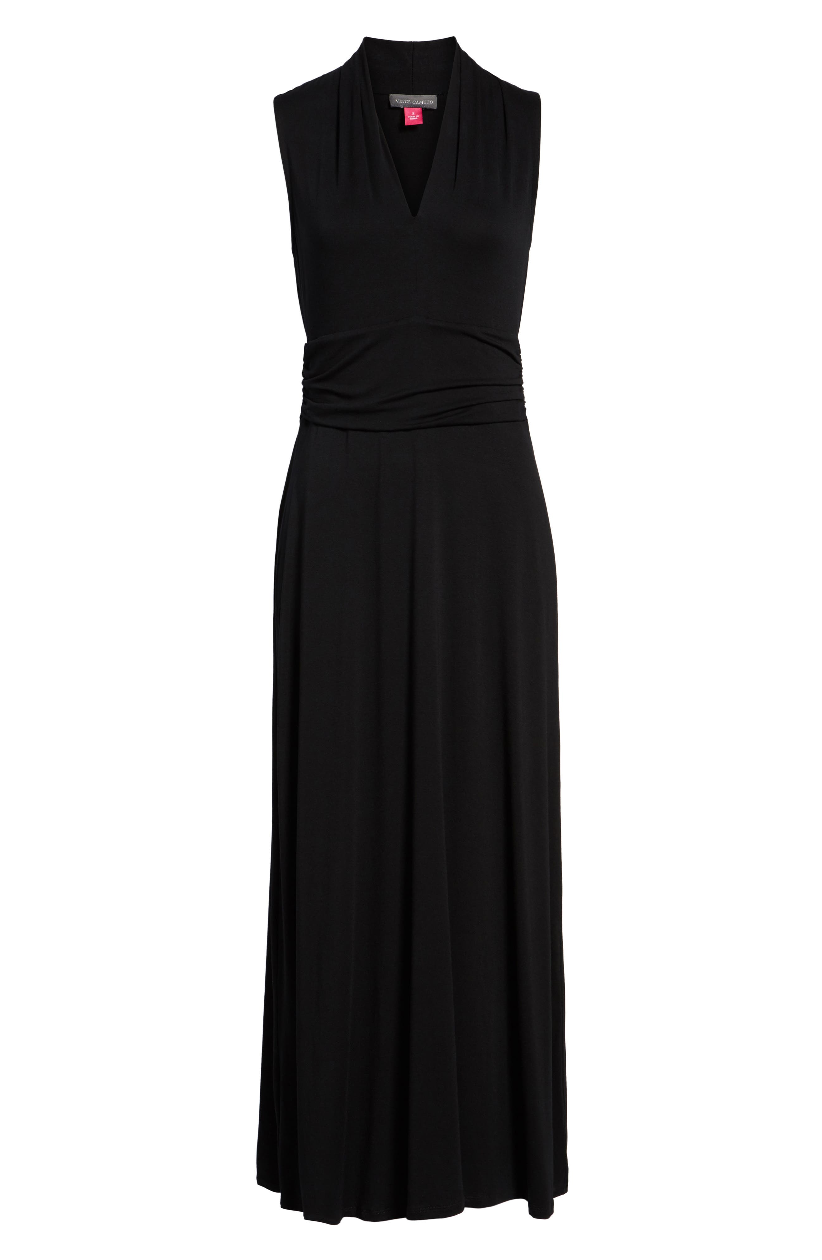 V-Neck Maxi Dress,                             Alternate thumbnail 7, color,                             RICH BLACK
