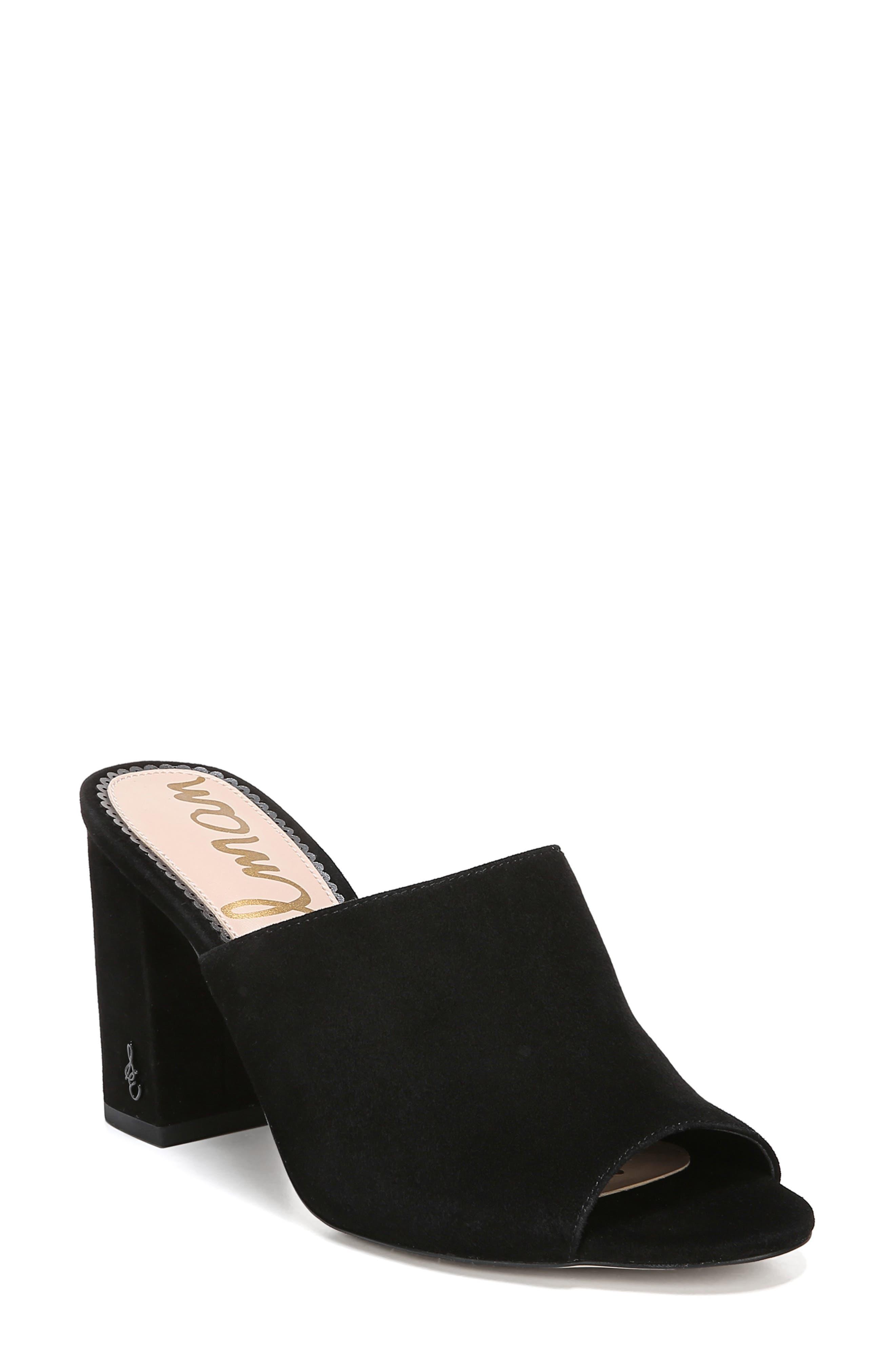 Orlie Open Toe Mule, Main, color, BLACK