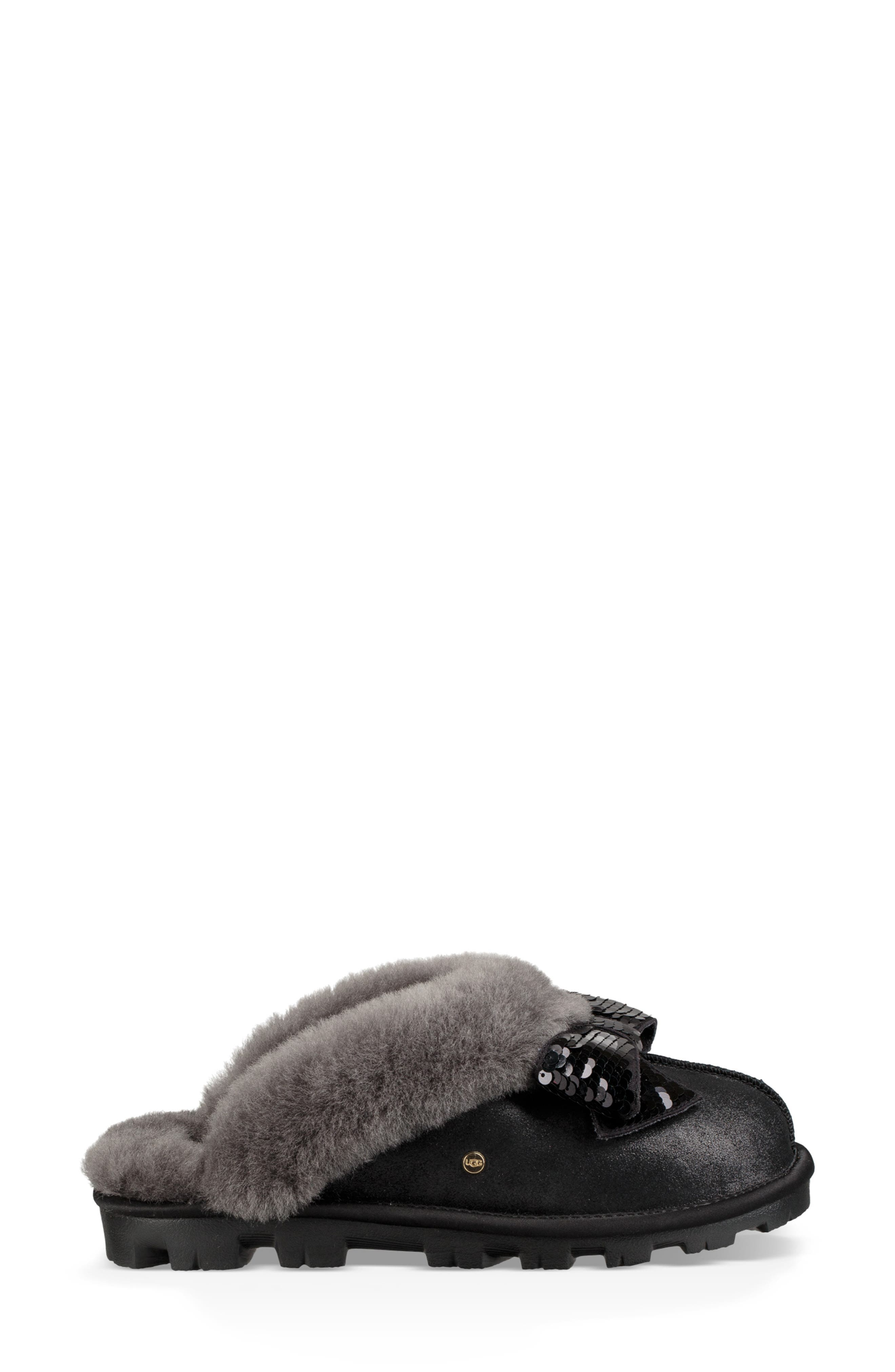 Genuine Shearling & Sequin Bow Slipper,                             Alternate thumbnail 3, color,                             BLACK
