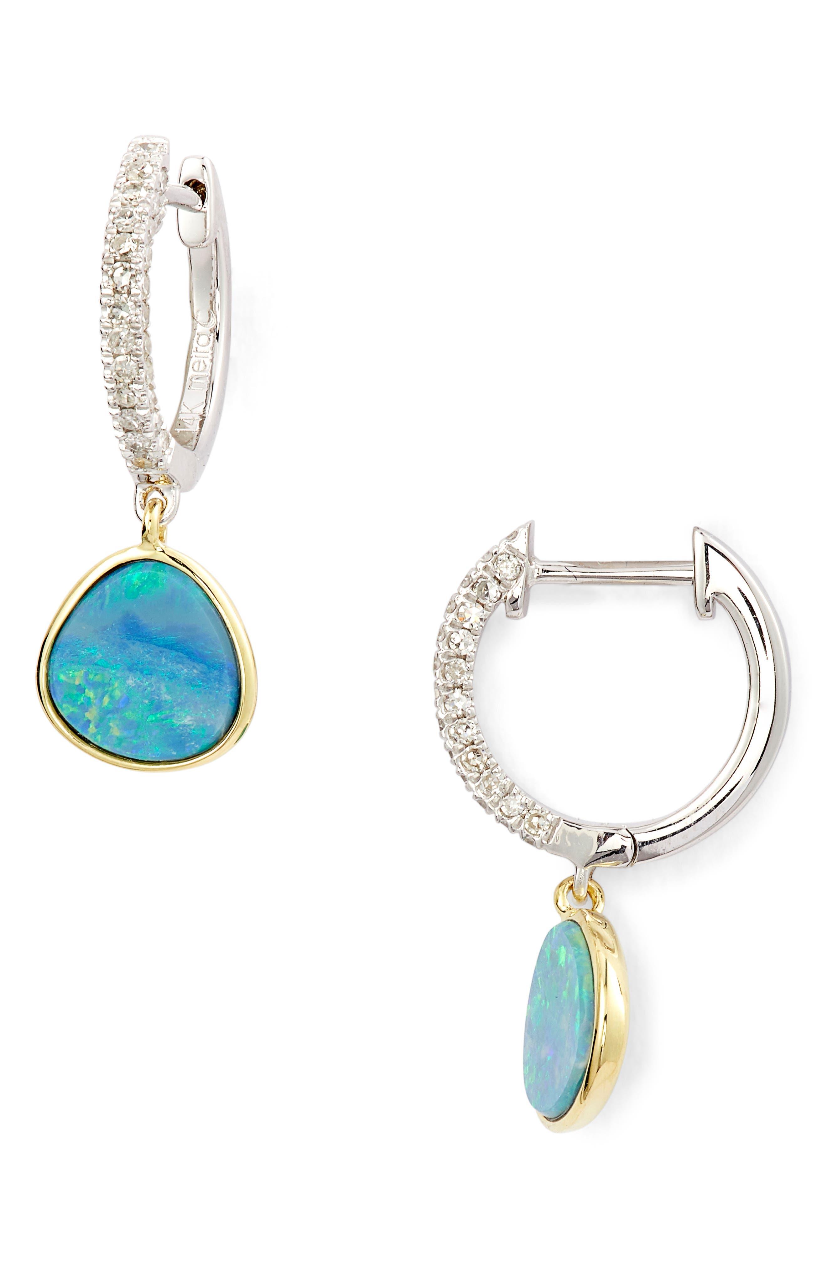 MEIRA T Opal & Diamond Pave Stud Earrings in Blue