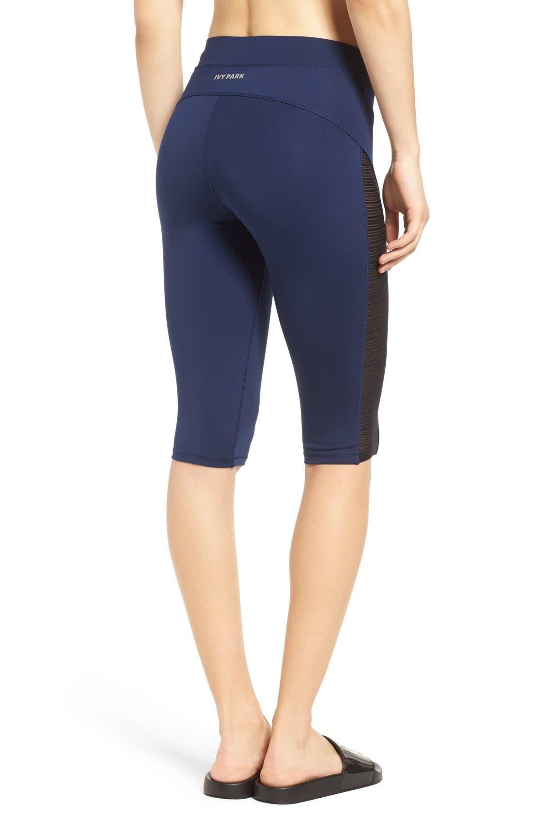 Linear Mesh V-Waist Capri Leggings, Main, color, 450