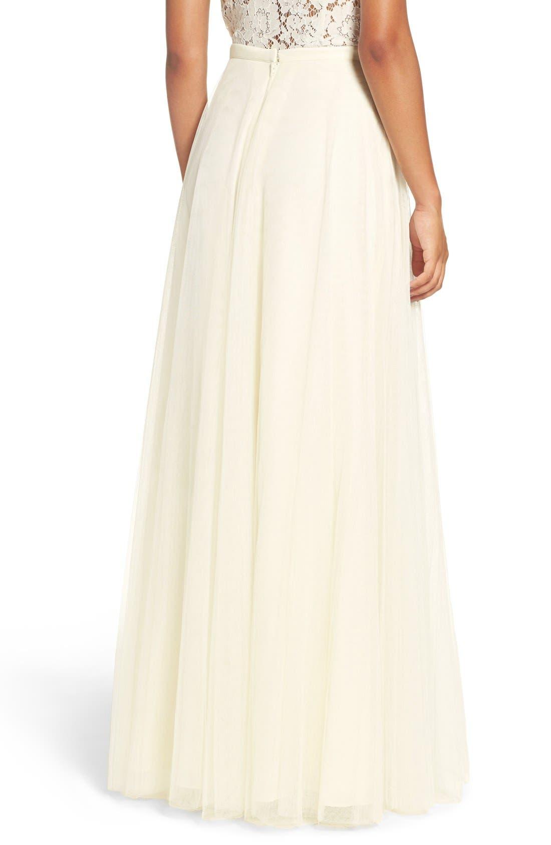 Winslow Long Tulle A-Line Skirt,                             Alternate thumbnail 3, color,                             104
