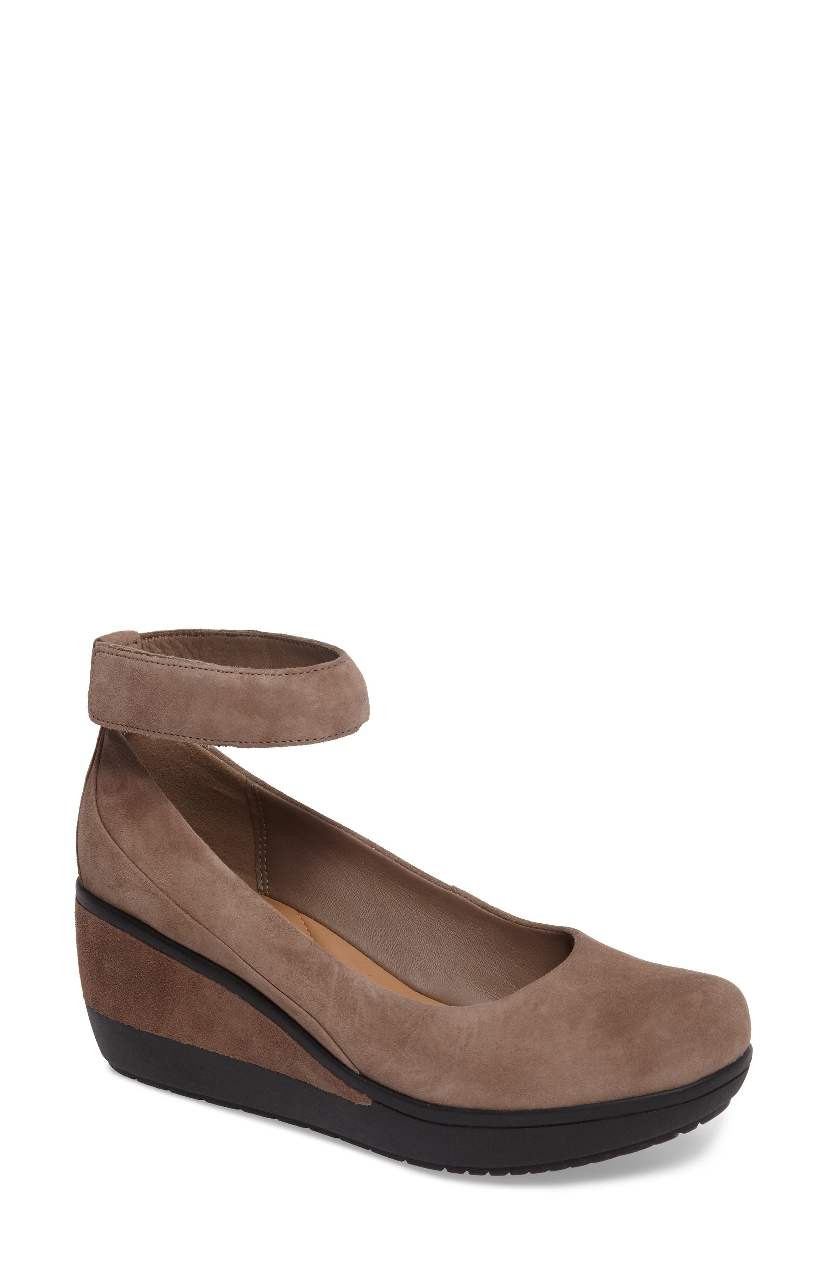 Wynnmere Fox Ankle Strap Pump,                             Main thumbnail 1, color,                             PEBBLE SUEDE