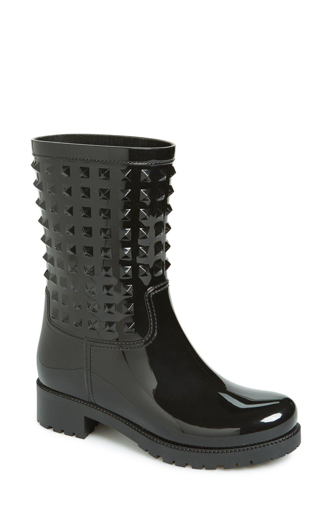 'Rockstud' Rain Boot,                         Main,                         color, 001