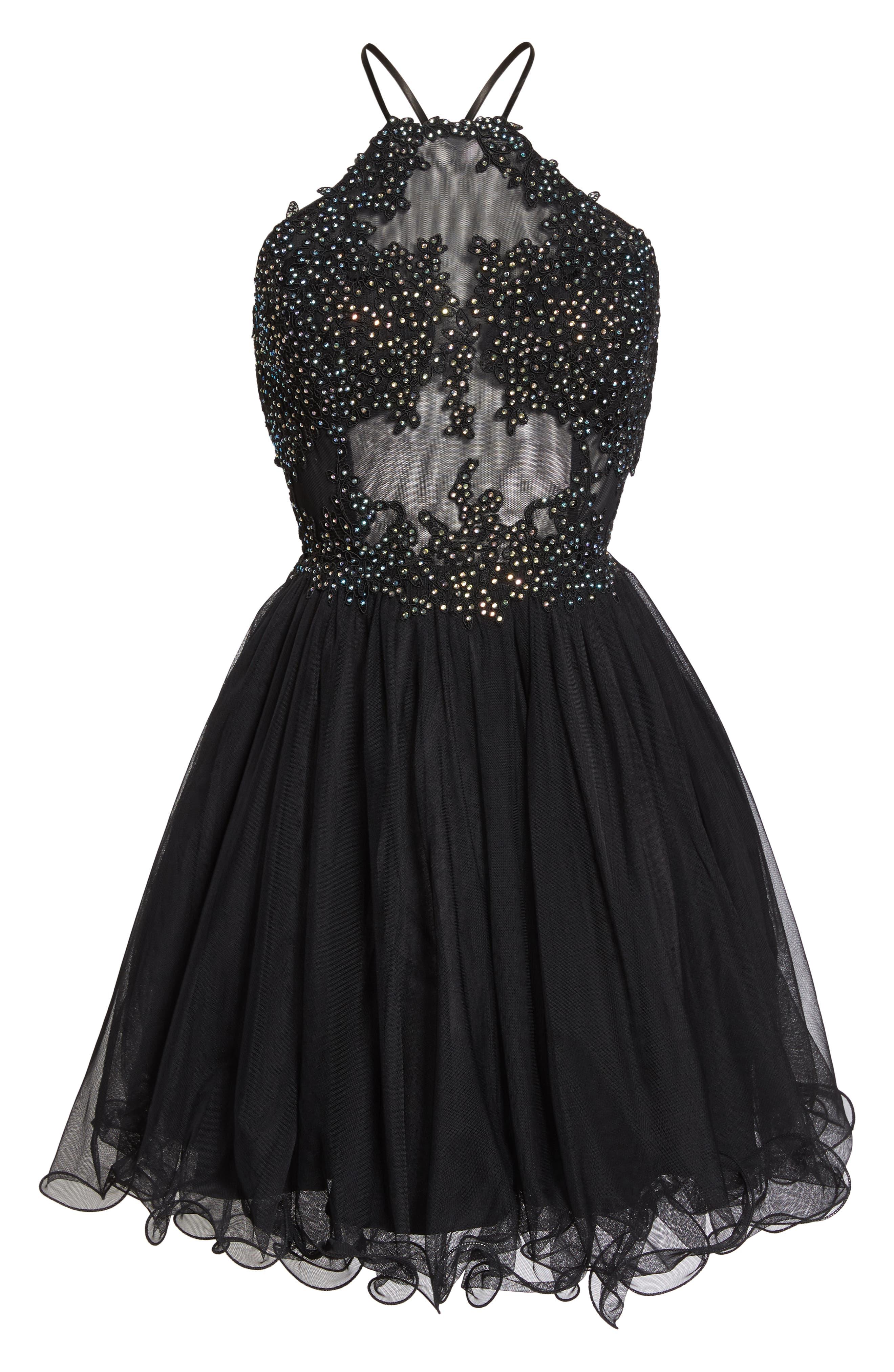Halter Neck Appliqué Mesh Party Dress,                             Alternate thumbnail 7, color,                             BLACK