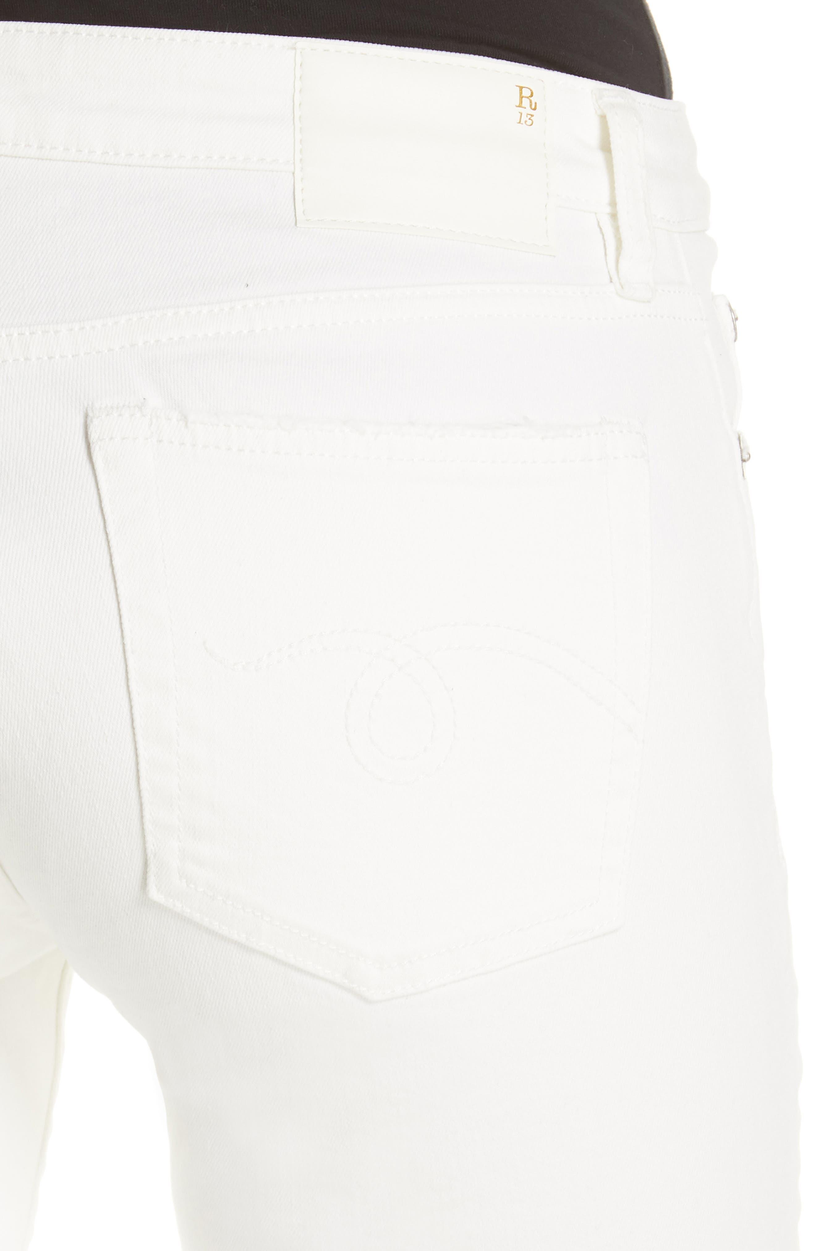 R13,                             Allison Distressed Skinny Jeans,                             Alternate thumbnail 4, color,                             GARRET WHITE