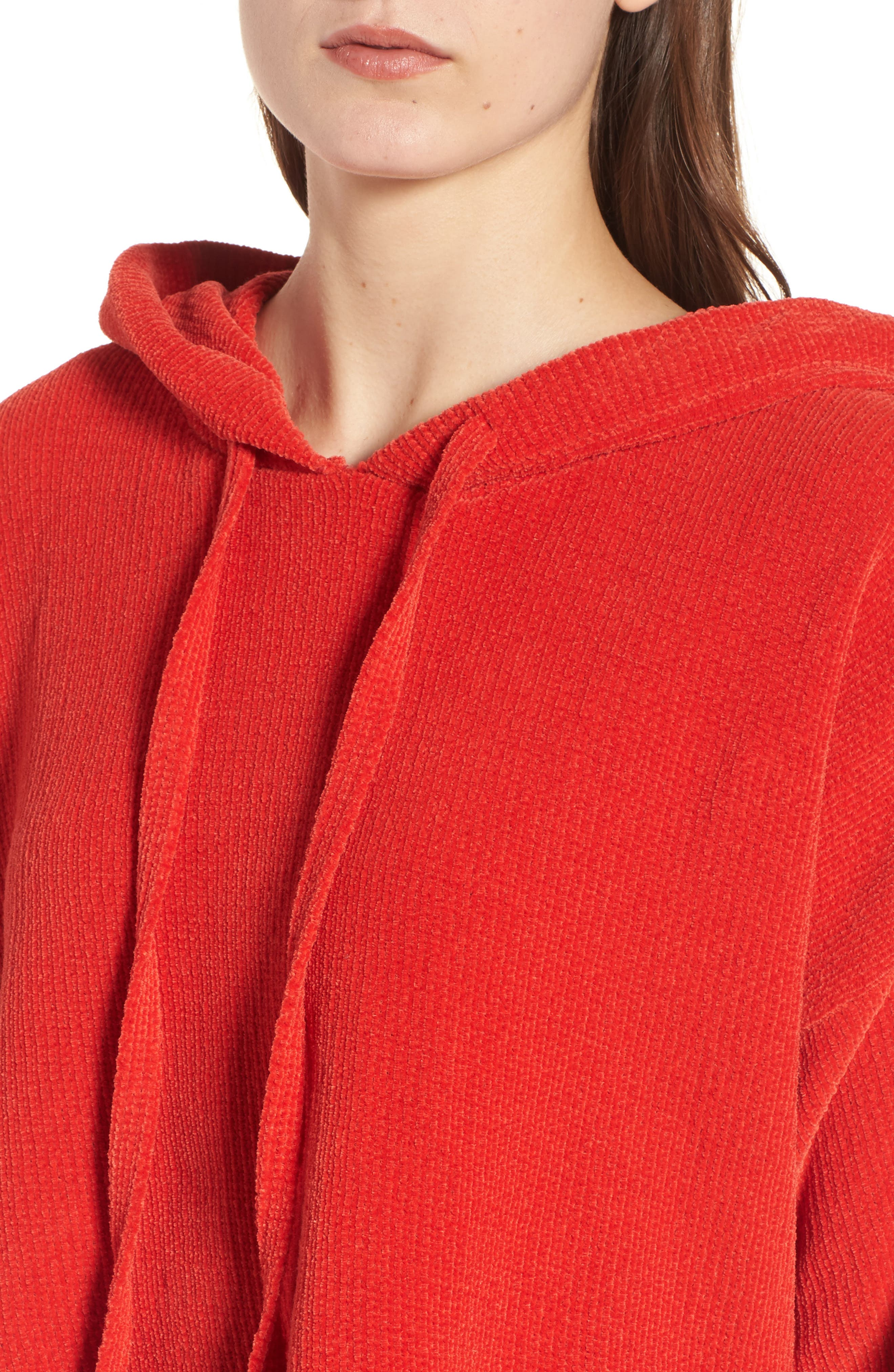 Chenille Crop Hoodie,                             Alternate thumbnail 4, color,                             950