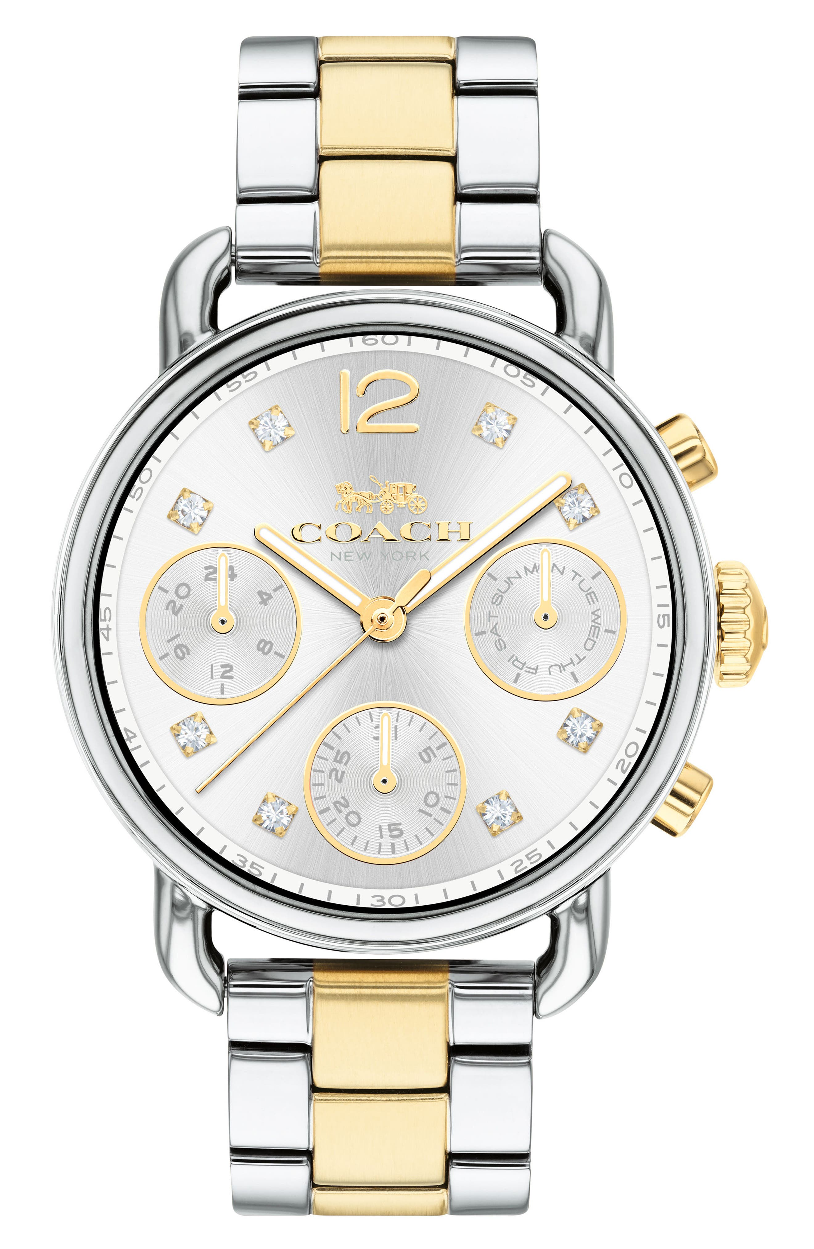 Delancey Chronograph Crystal Accent Bracelet Watch, 36mm,                             Main thumbnail 1, color,                             SILVER/ GOLD