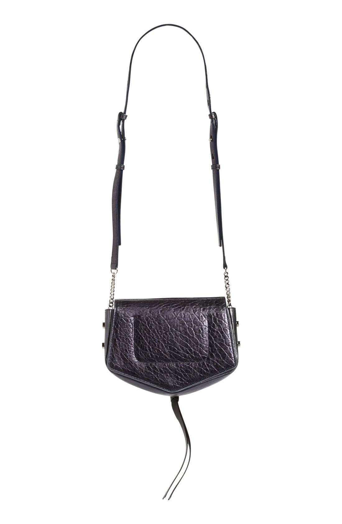 Arrow Metallic Grained Leather Shoulder Bag,                             Alternate thumbnail 14, color,
