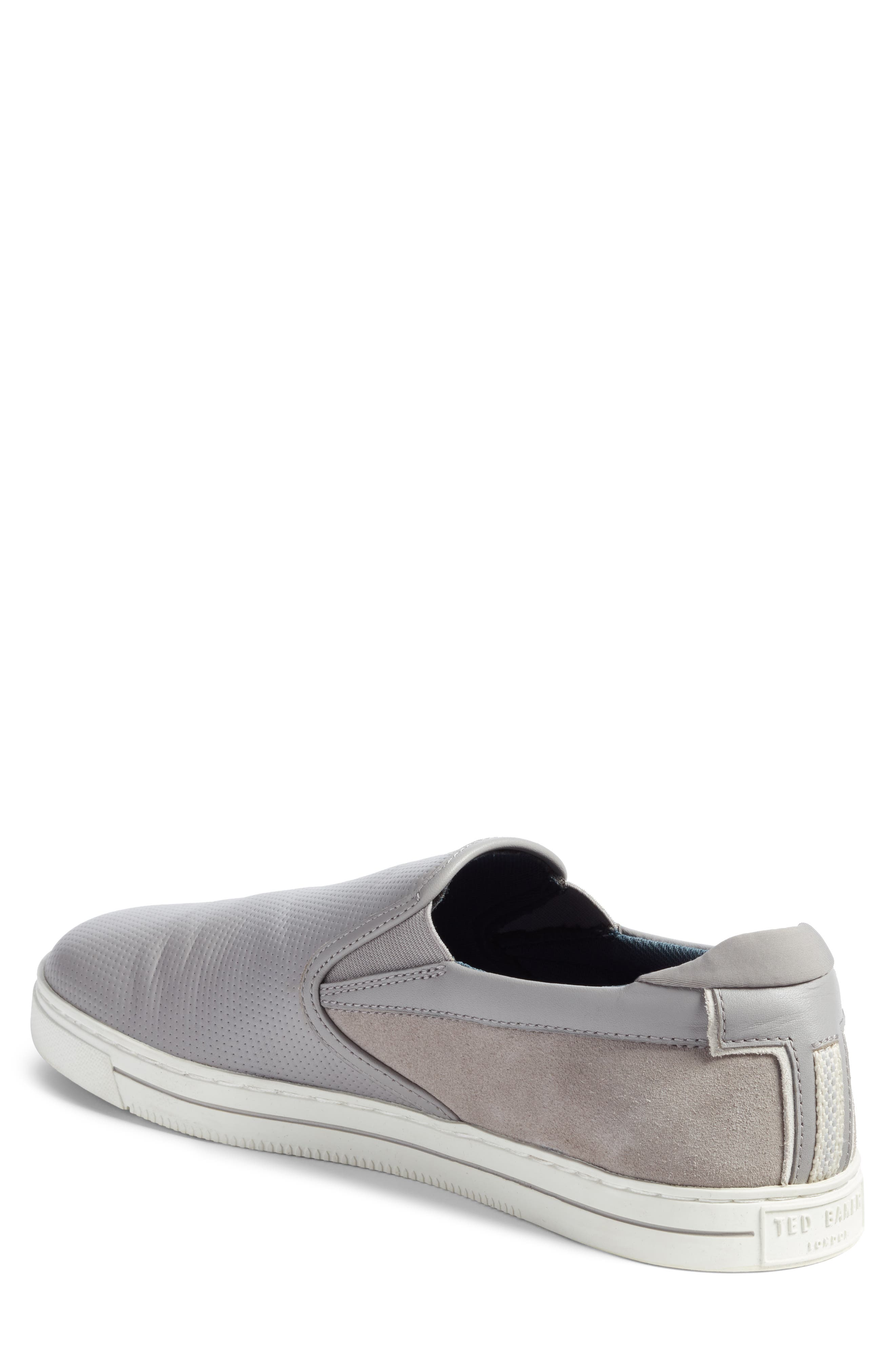 Patroy Perforated Slip-On Sneaker,                             Alternate thumbnail 2, color,                             LIGHT GREY LEATHER