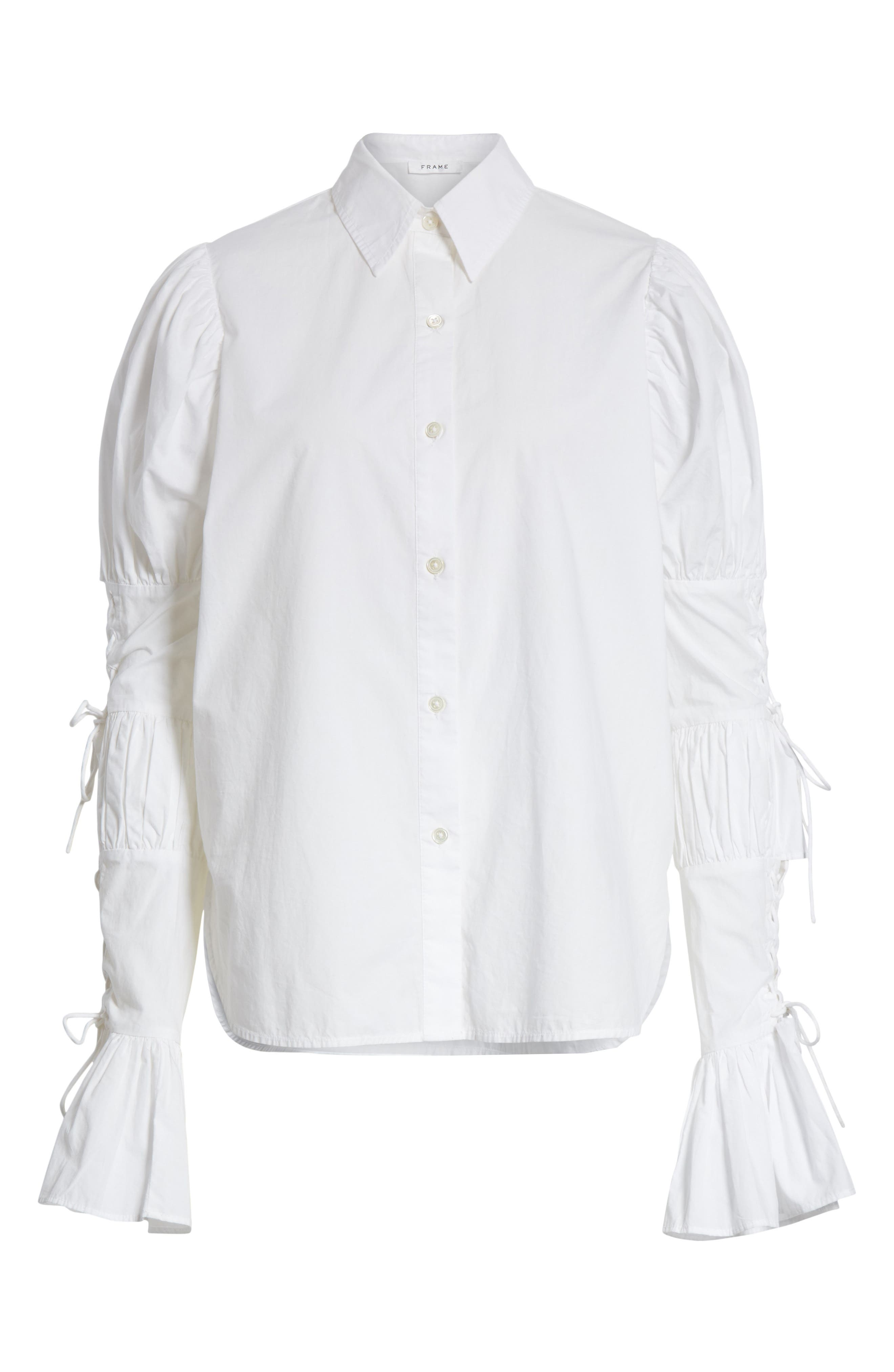 Lace-Up Sleeve Cotton Shirt,                             Alternate thumbnail 6, color,                             BLANC