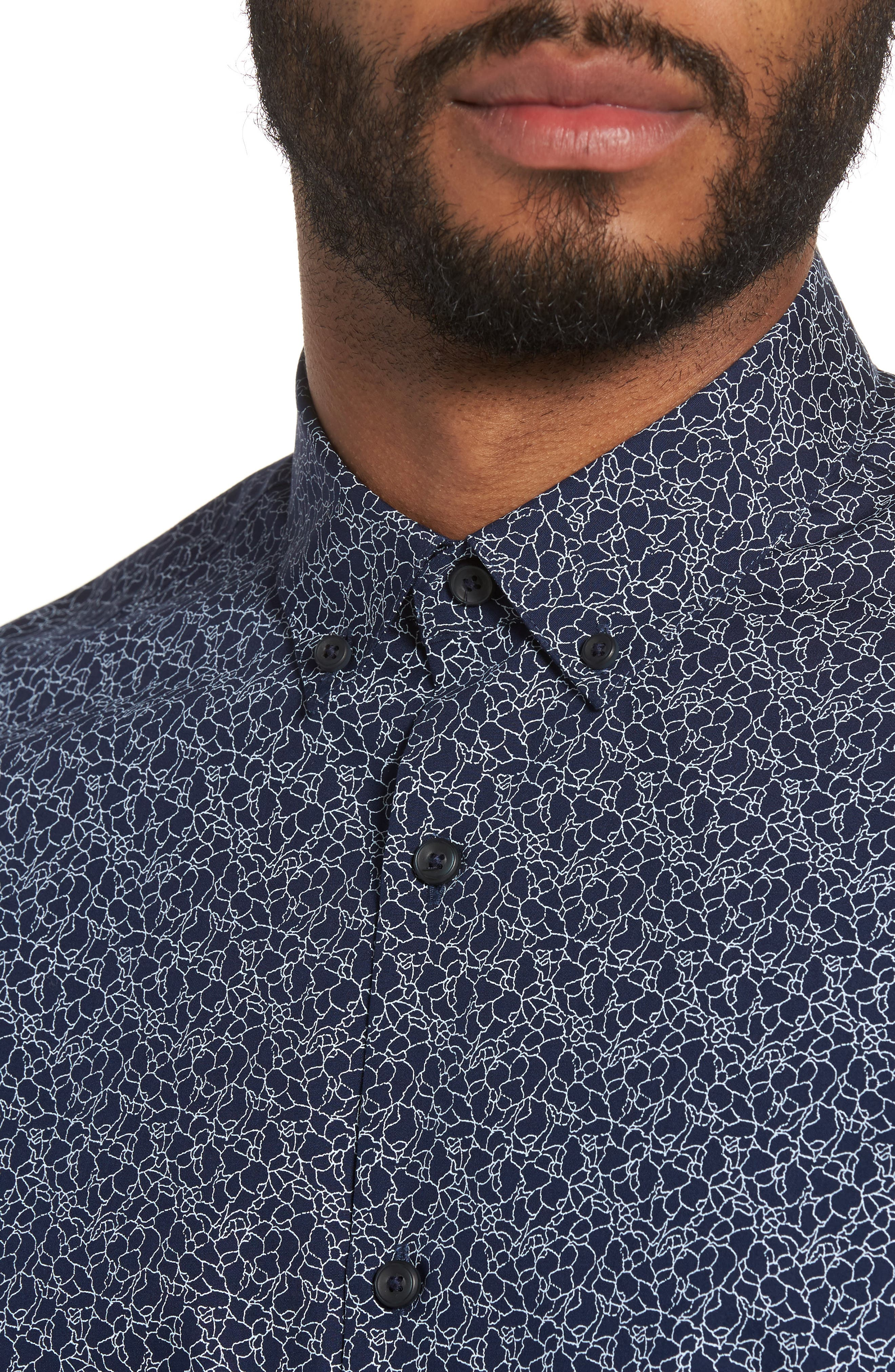 Slim Fit Print Sport Shirt,                             Alternate thumbnail 4, color,                             410