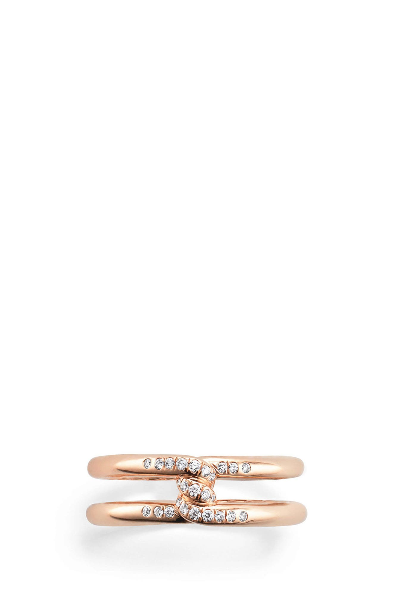 Continuance Band Ring with Diamonds in 18k Gold, 6.5mm,                         Main,                         color, ROSE GOLD