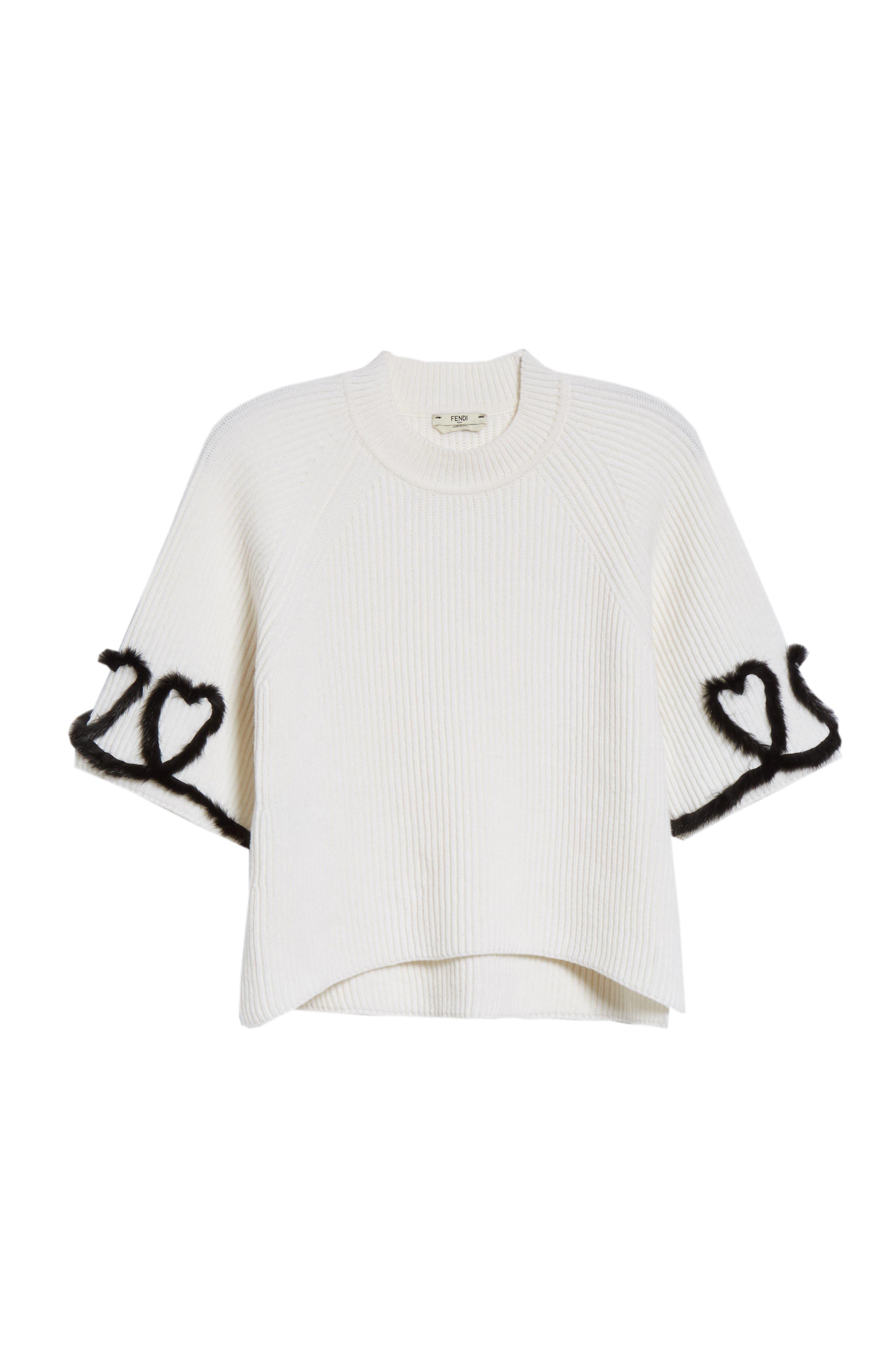 FENDI,                             Scribble Heart Sweater with Genuine Mink Fur Trim,                             Alternate thumbnail 6, color,                             WHITE