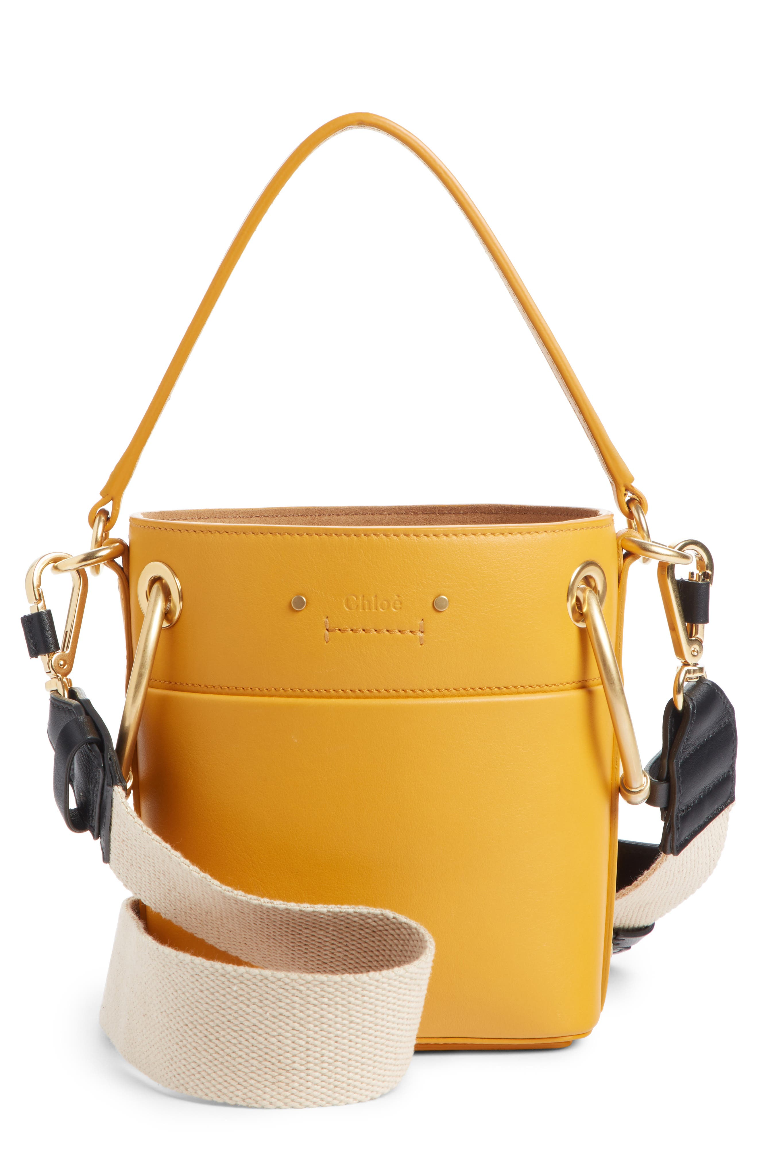 Roy Small Leather Bucket Bag,                             Main thumbnail 1, color,                             BURNING CAMEL