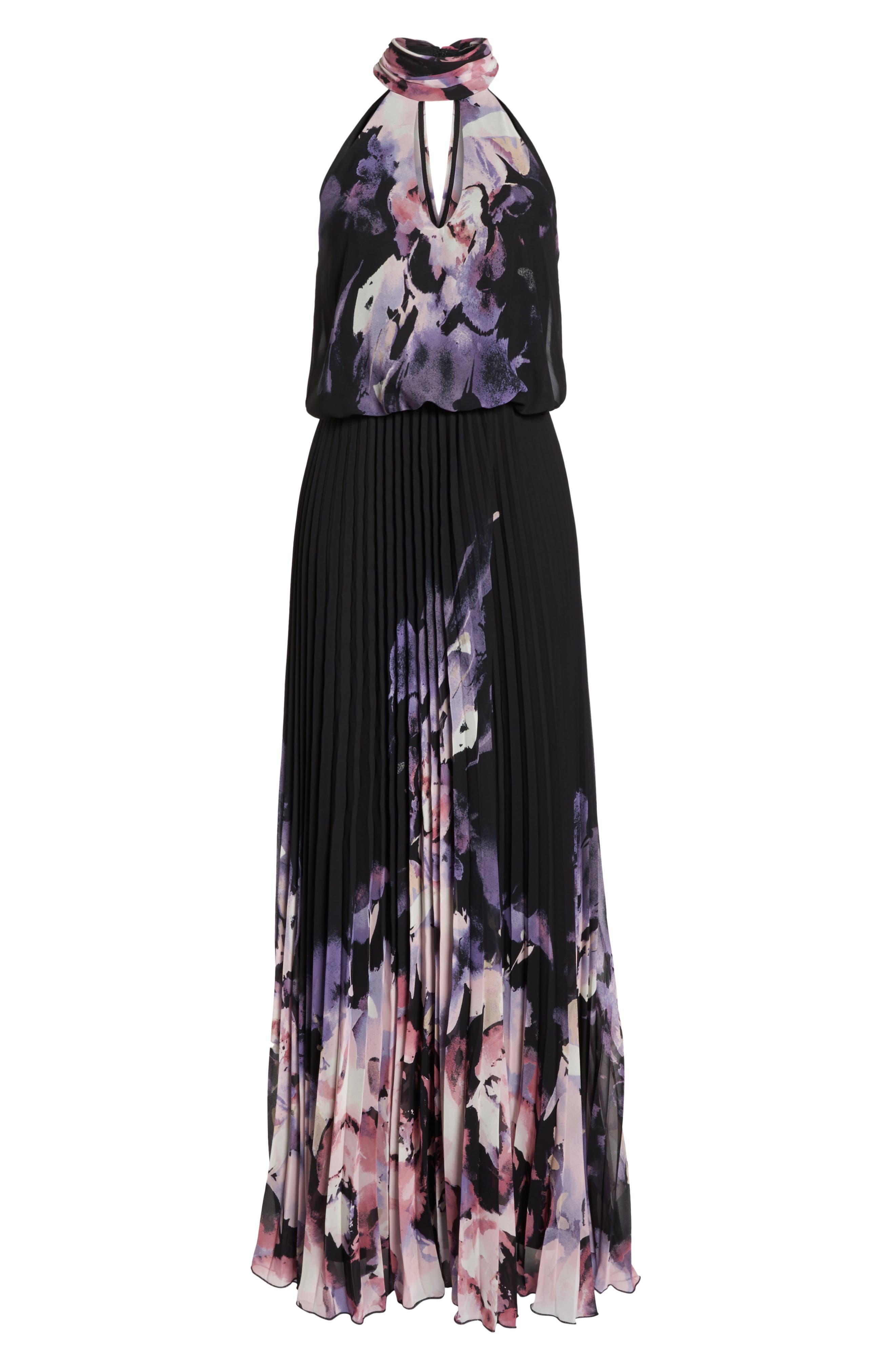 Pleated Halter Neck Chiffon Gown,                             Alternate thumbnail 7, color,                             BLACK/ PINK