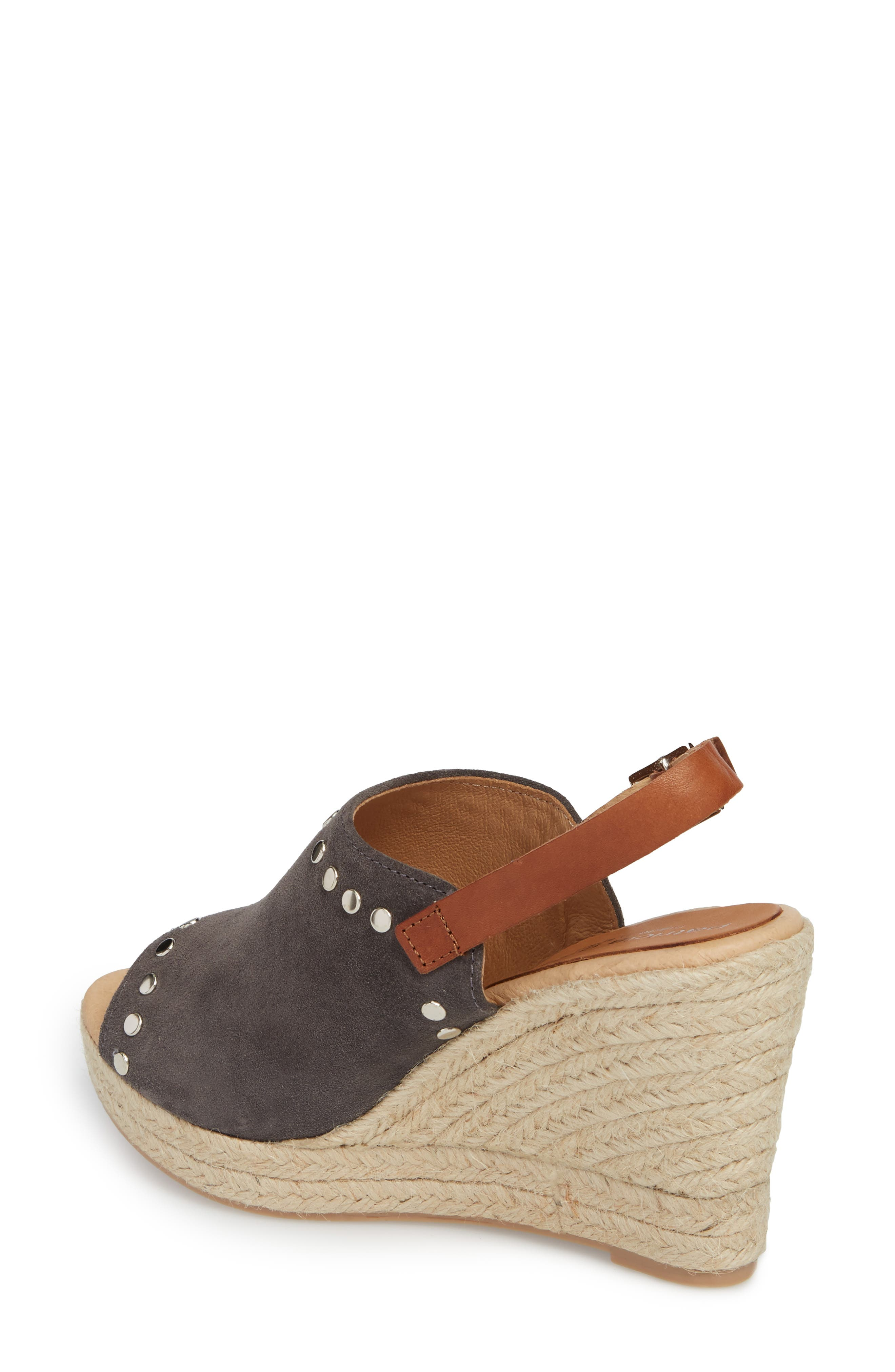 Rockstar Espadrille Wedge Sandal,                             Alternate thumbnail 2, color,                             CHARCOAL SUEDE