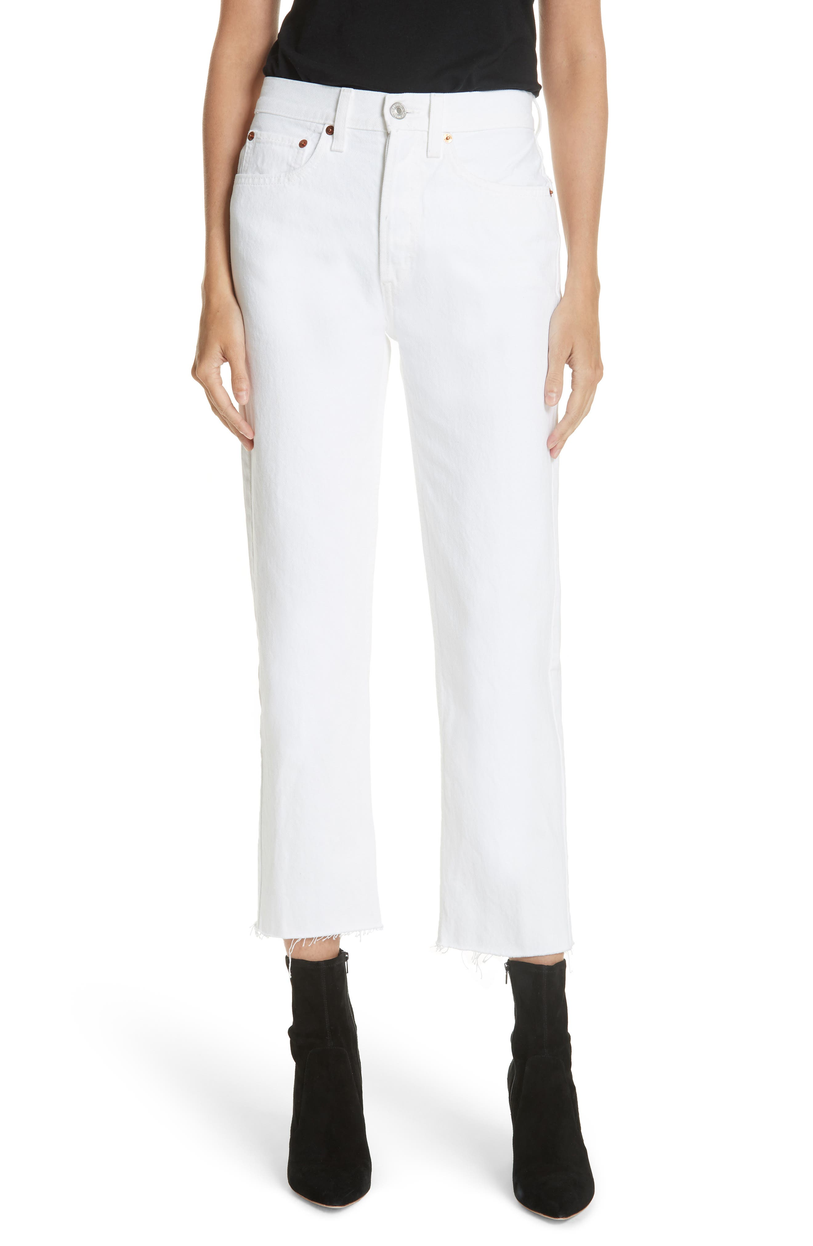 Originals High Waist Stove Pipe Jeans,                             Main thumbnail 1, color,                             WHITE
