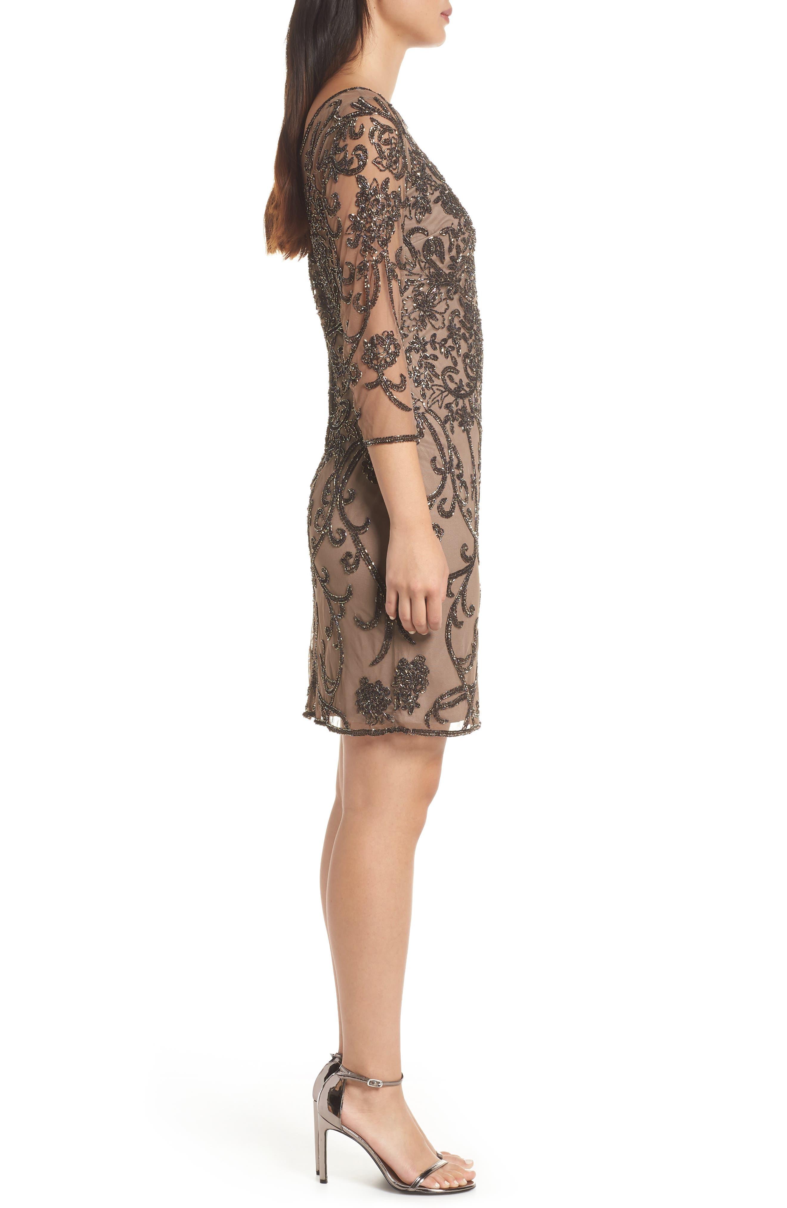 Embellished Mesh Sheath Dress,                             Alternate thumbnail 3, color,                             MOCHA