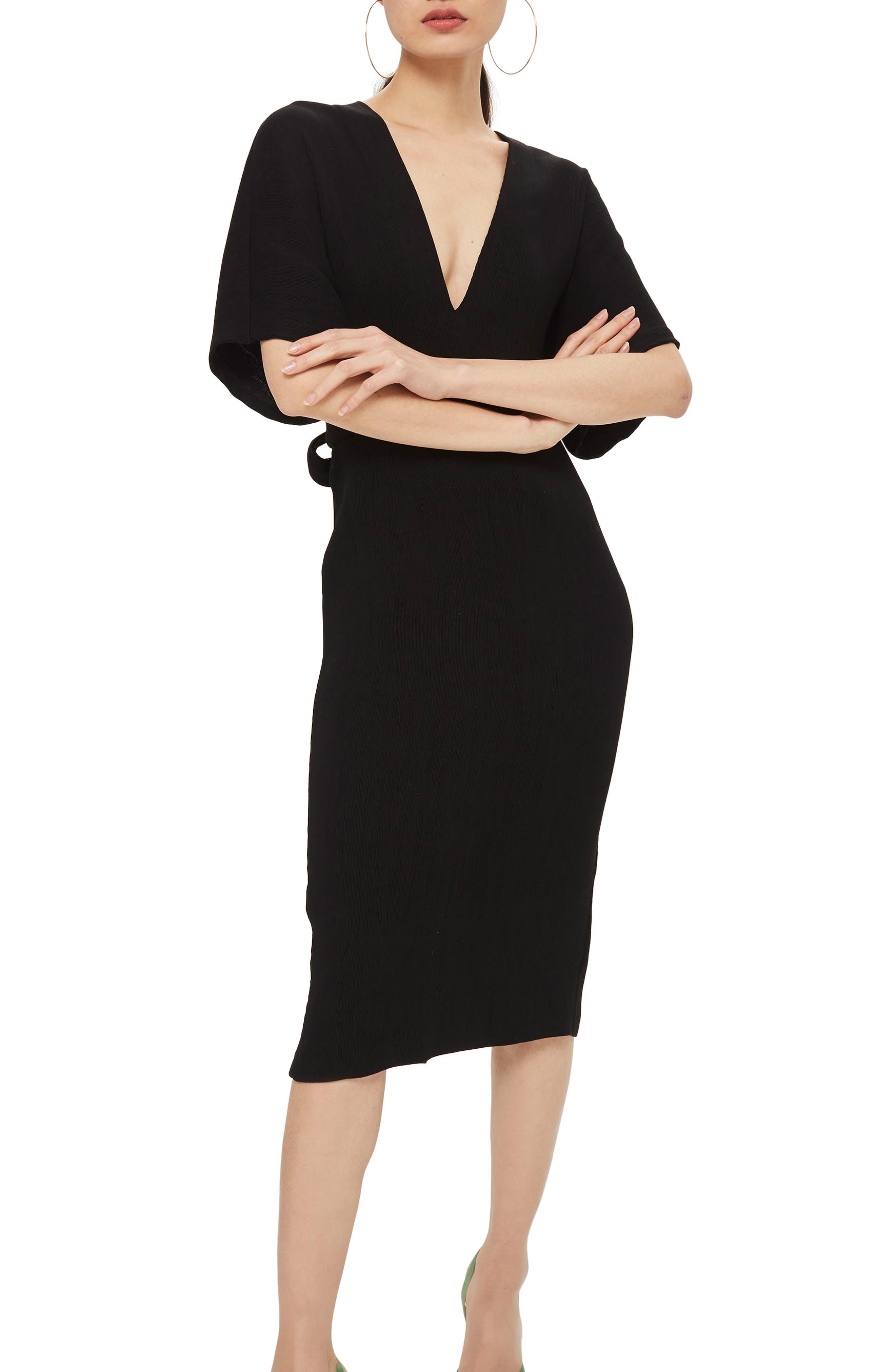 TOPSHOP Text V-Plunge Midi Dress, Main, color, 001