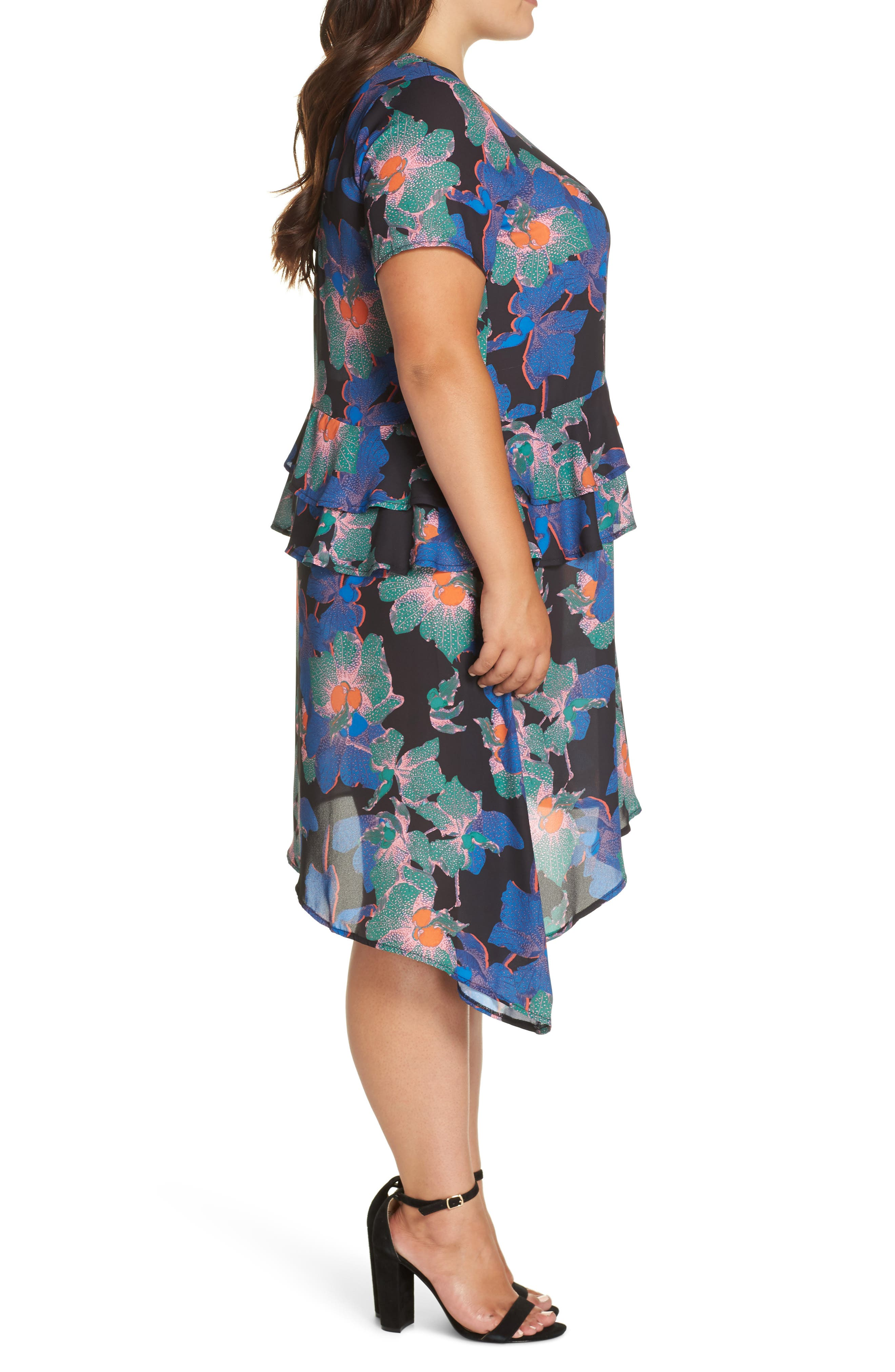 Floral Asymmetric Dress,                             Alternate thumbnail 3, color,                             MULTI
