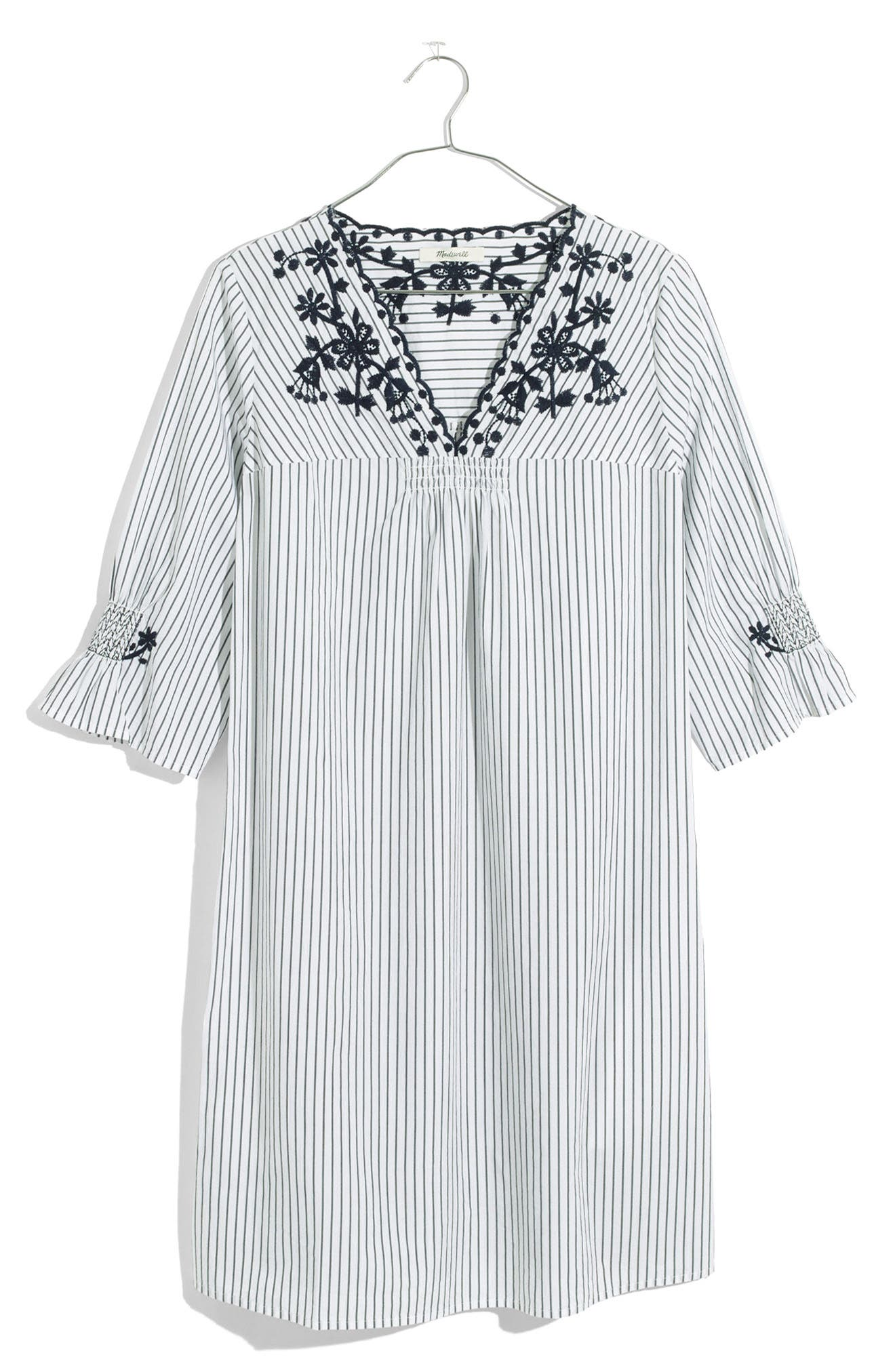 Stripe Embroidered Breeze Dress,                             Alternate thumbnail 4, color,                             050