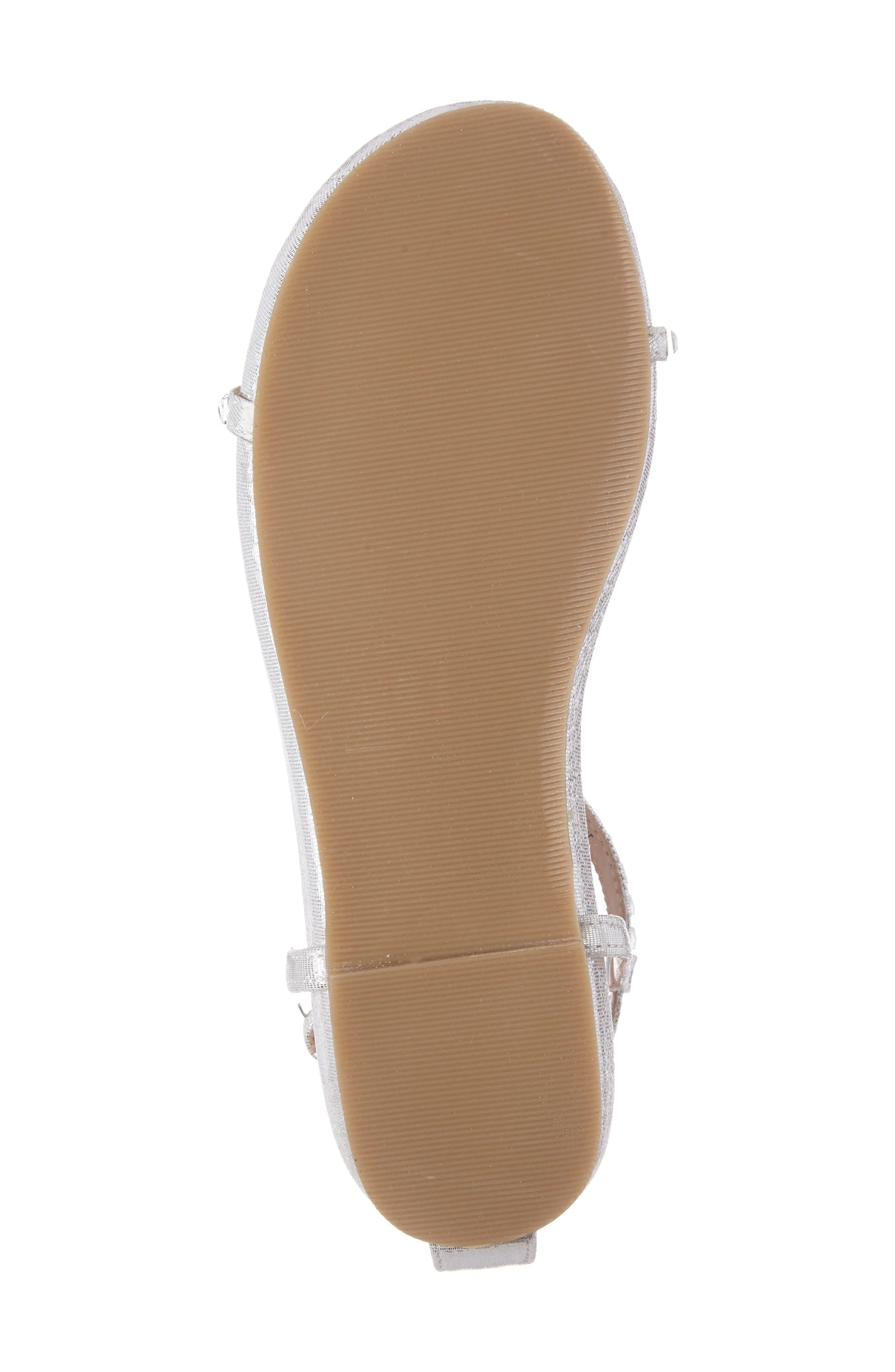 Kaylee Ankle Strap Sandal,                             Alternate thumbnail 4, color,                             SILVER