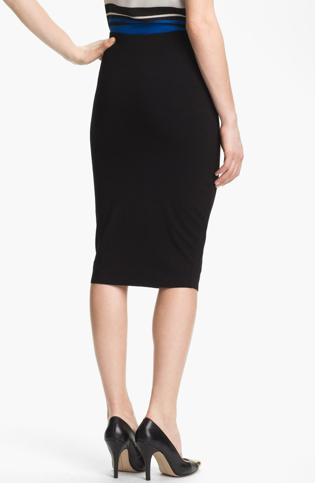 Stretch Knit Midi Tube Skirt,                             Alternate thumbnail 5, color,                             RICH BLACK