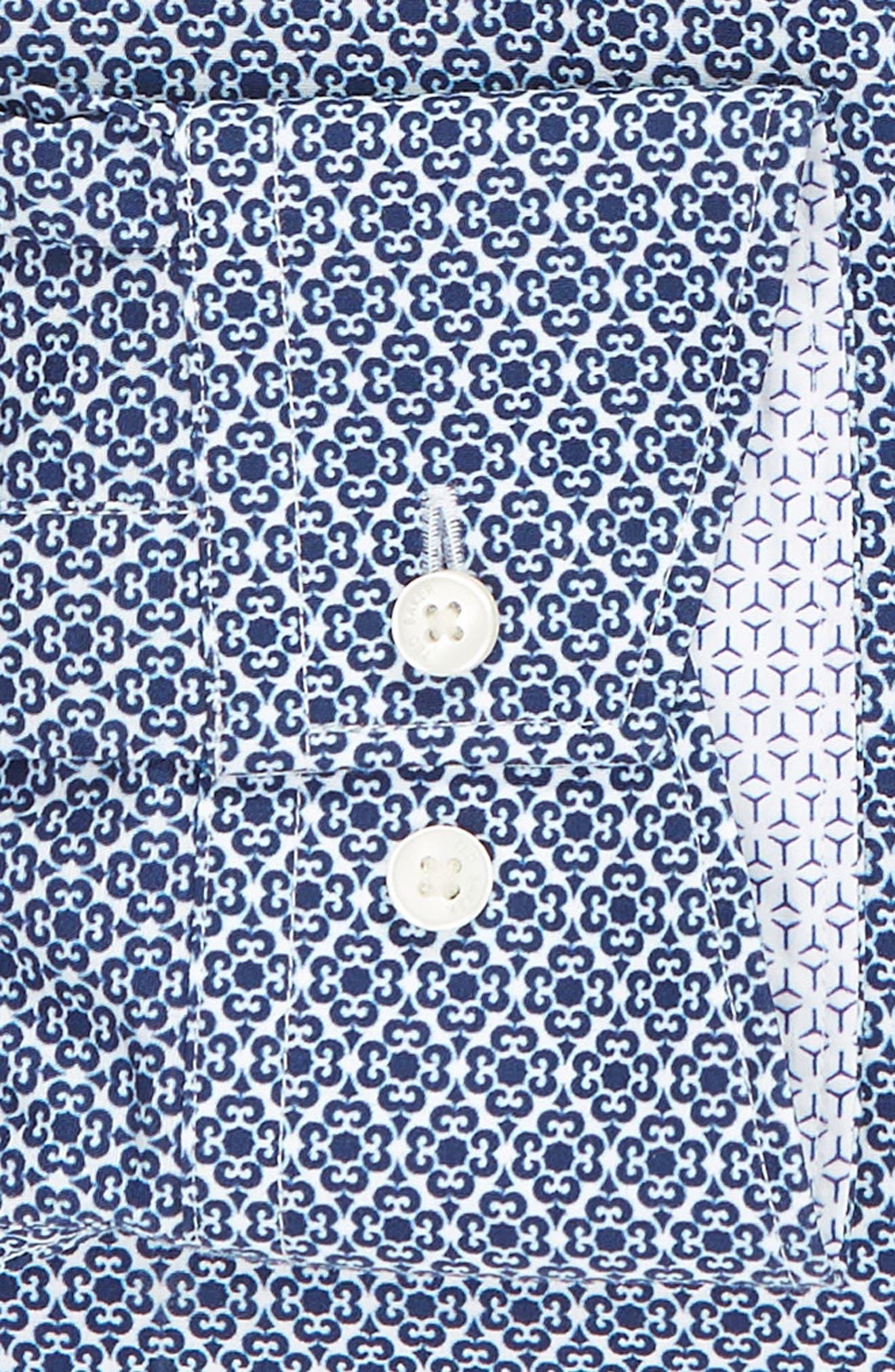 Slestmi Slim Fit Print Dress Shirt,                             Alternate thumbnail 6, color,                             BLUE
