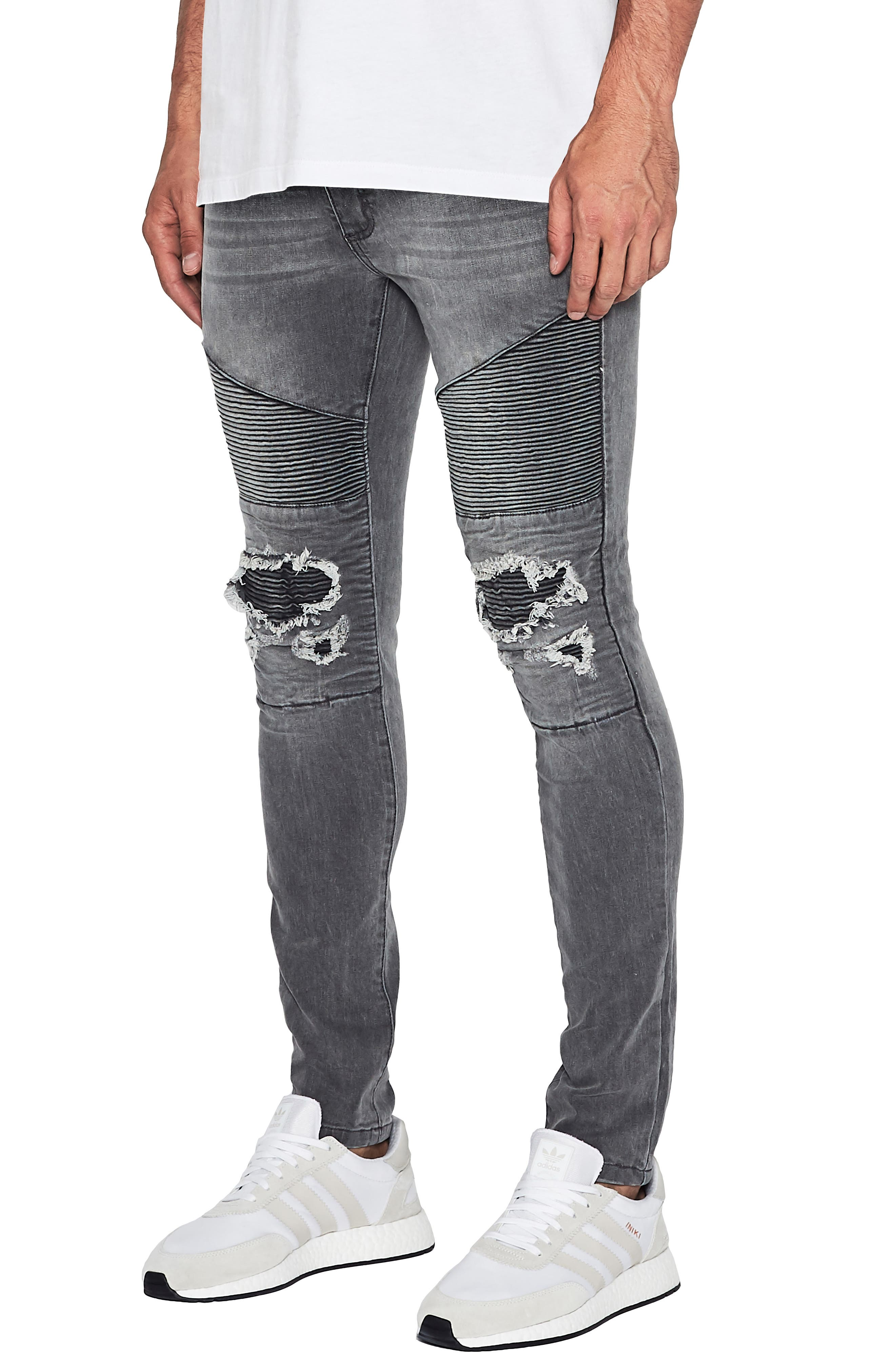 Combination Moto Skinny Moto Jeans,                             Alternate thumbnail 3, color,                             GREY TRASH