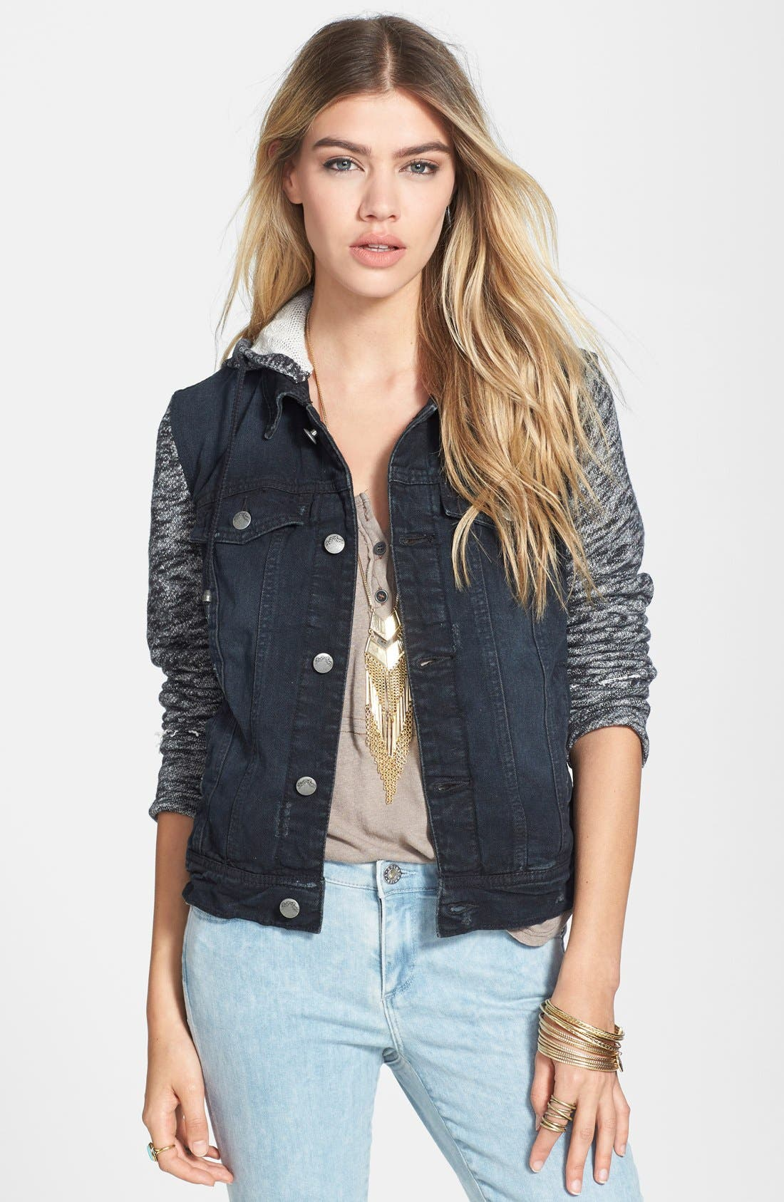 FREE PEOPLE Denim & Knit Jacket, Main, color, 001