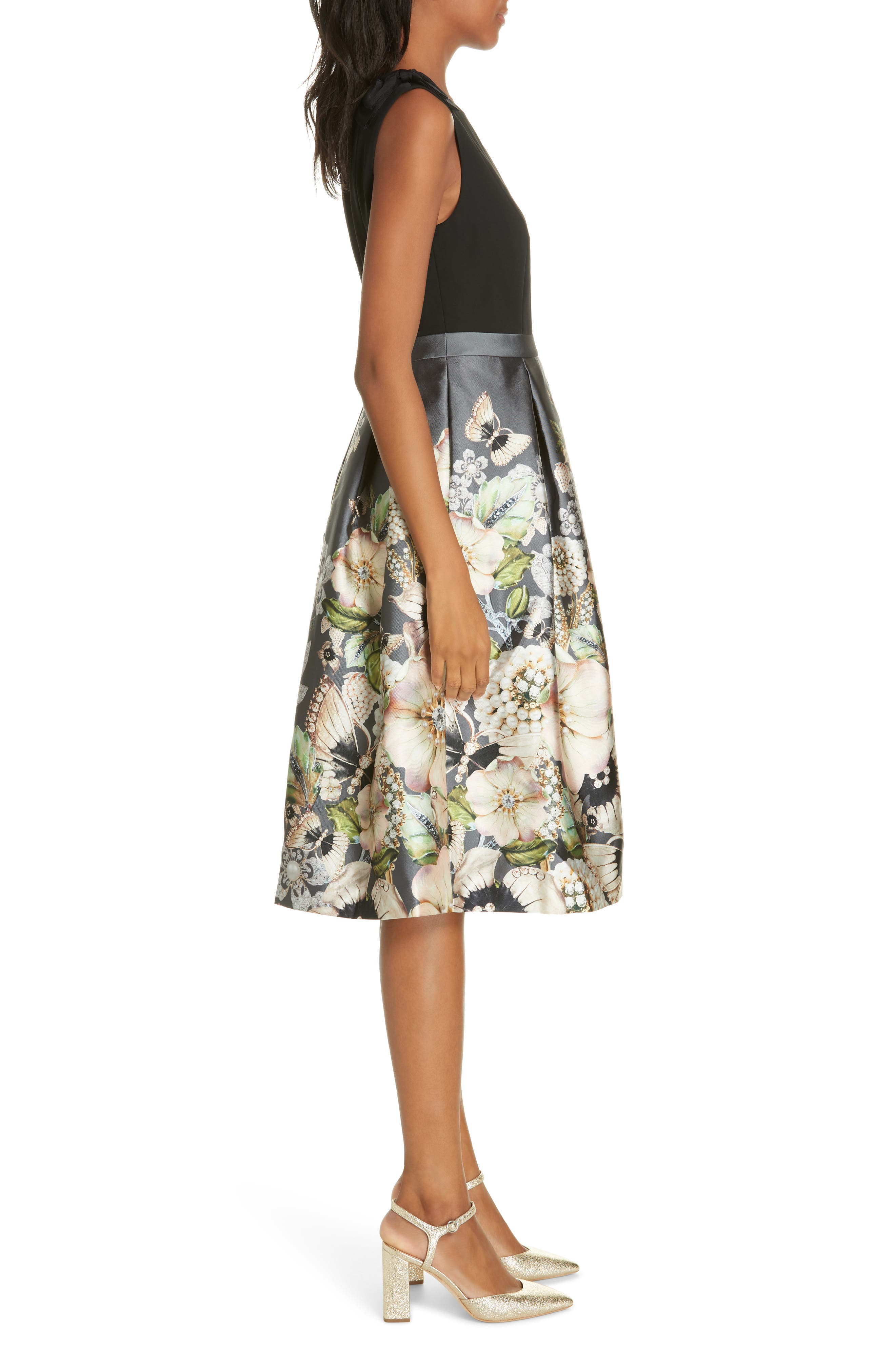 Molyka Gem Gardens Bow Dress,                             Alternate thumbnail 3, color,                             CHARCOAL