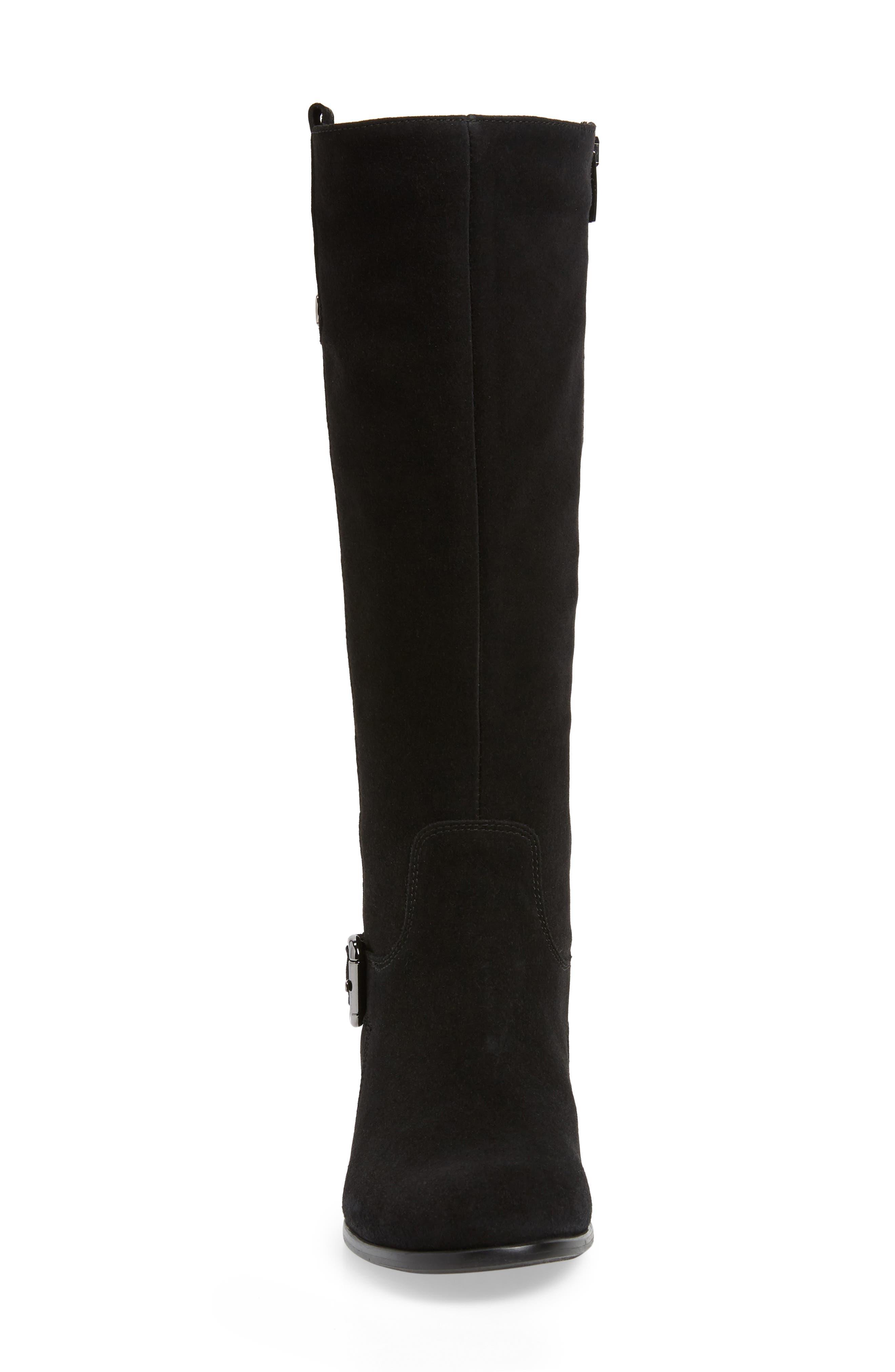 'Stefanie' Waterproof Boot,                             Alternate thumbnail 4, color,                             BLACK SUEDE