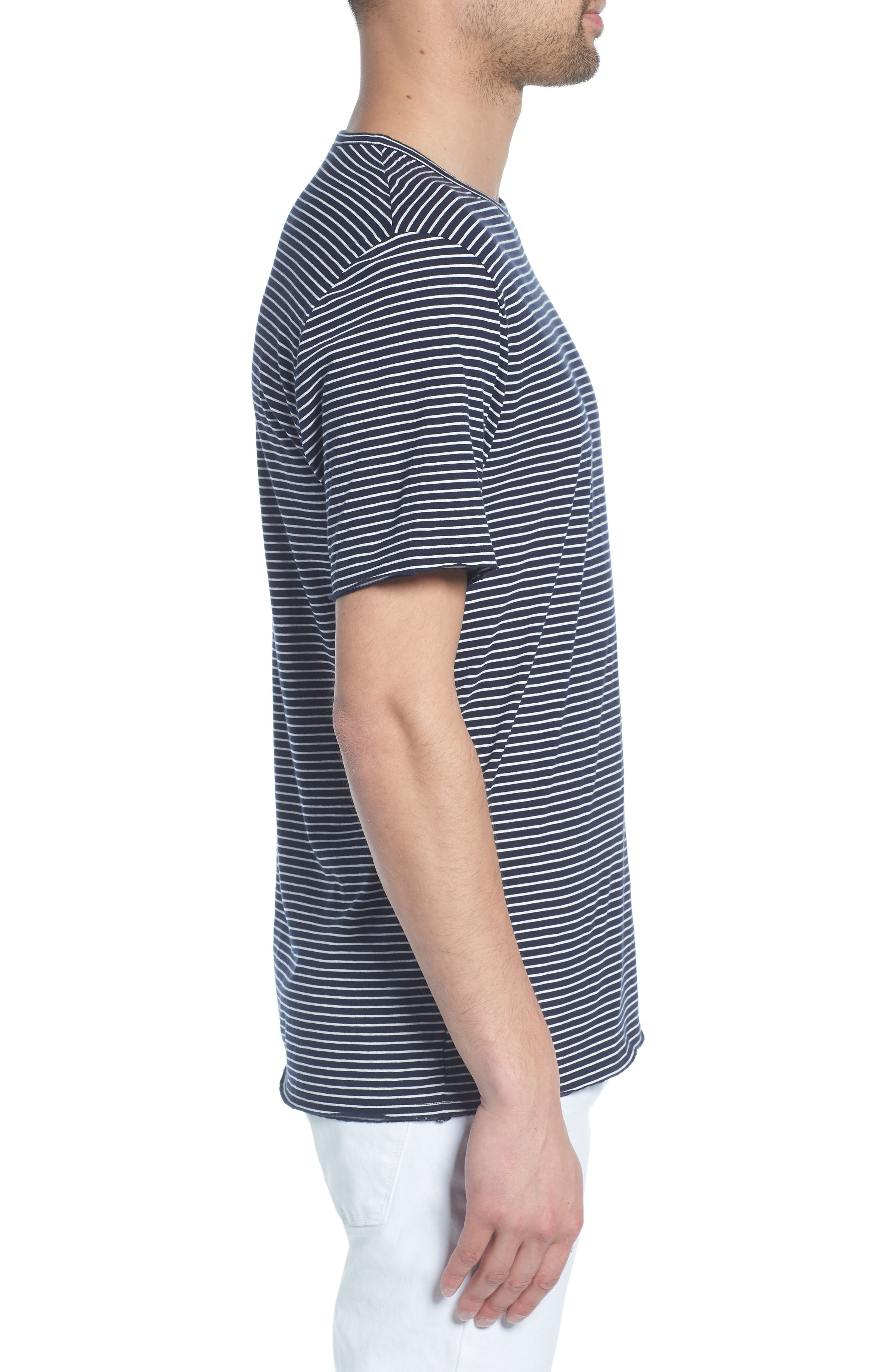 Stripe Crewneck T-Shirt,                             Alternate thumbnail 3, color,                             NEW COASTAL/ LECHE