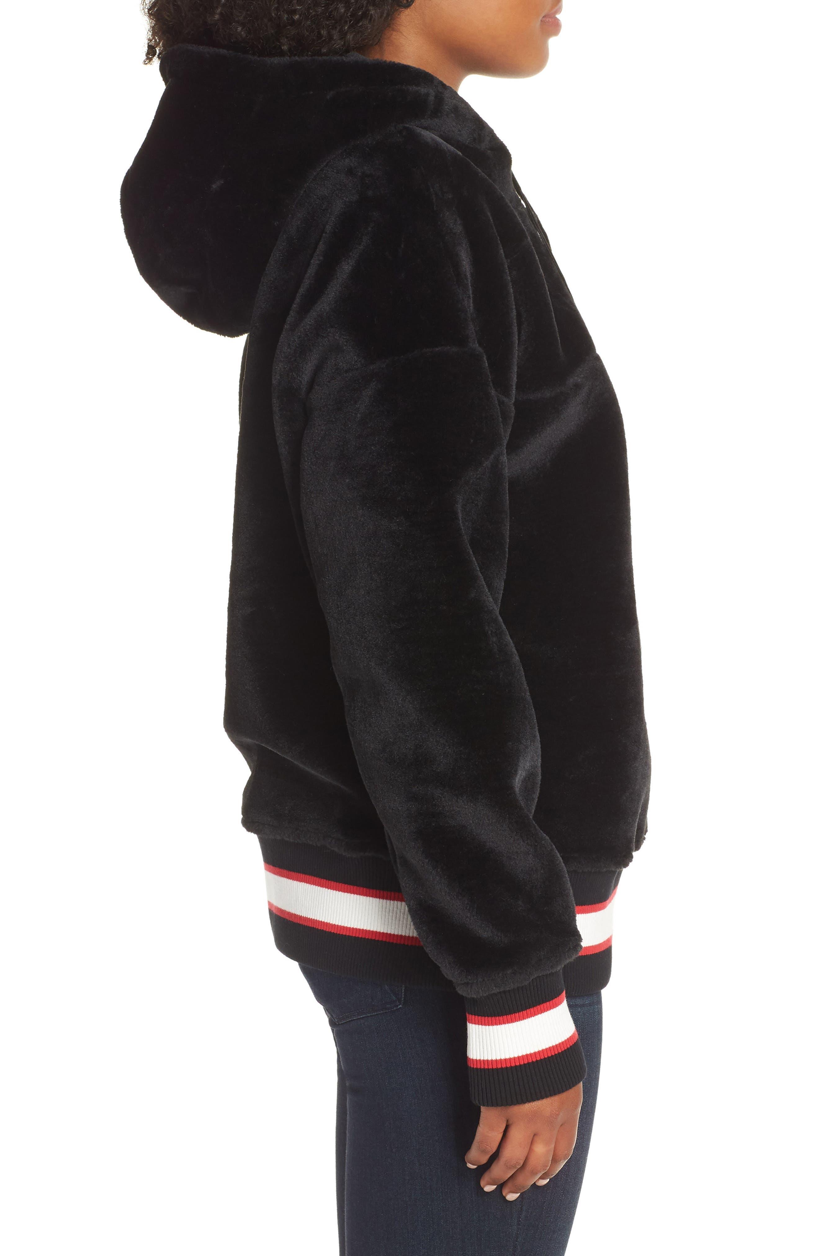 Kailani High Pile Fleece Hoodie,                             Alternate thumbnail 3, color,                             BLACK