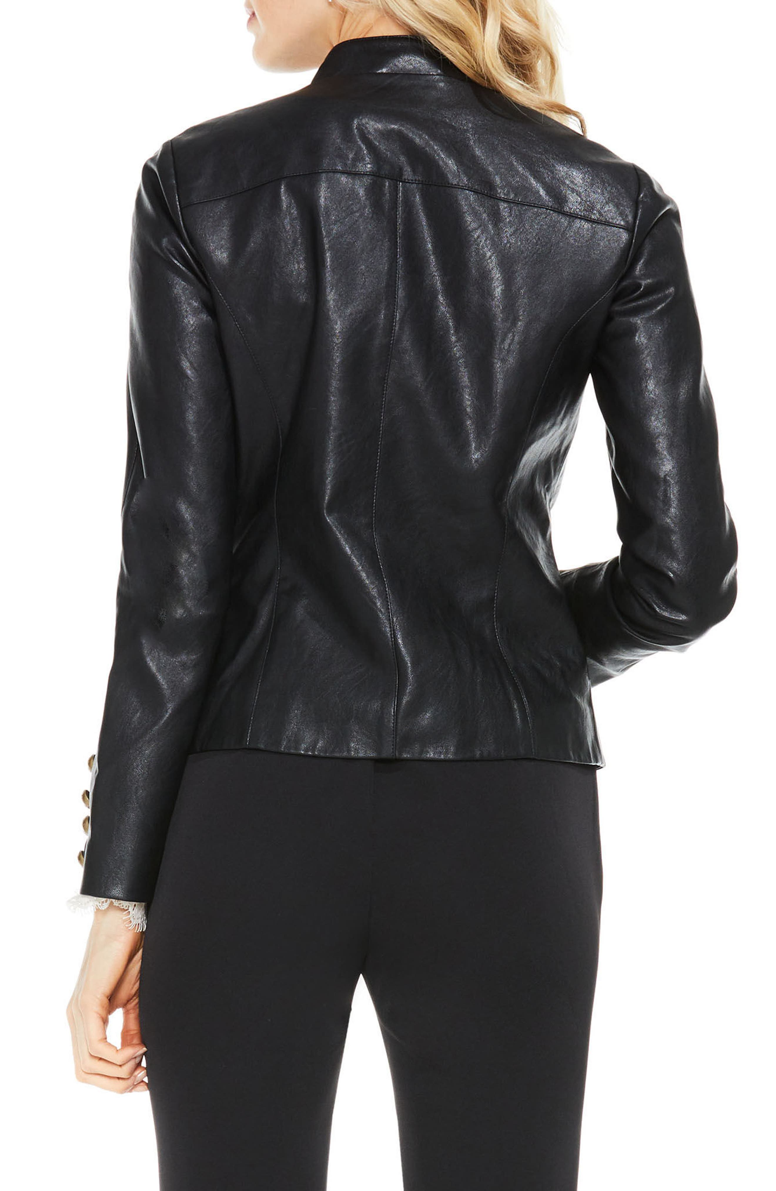 Faux Leather Military Jacket,                             Alternate thumbnail 3, color,                             006