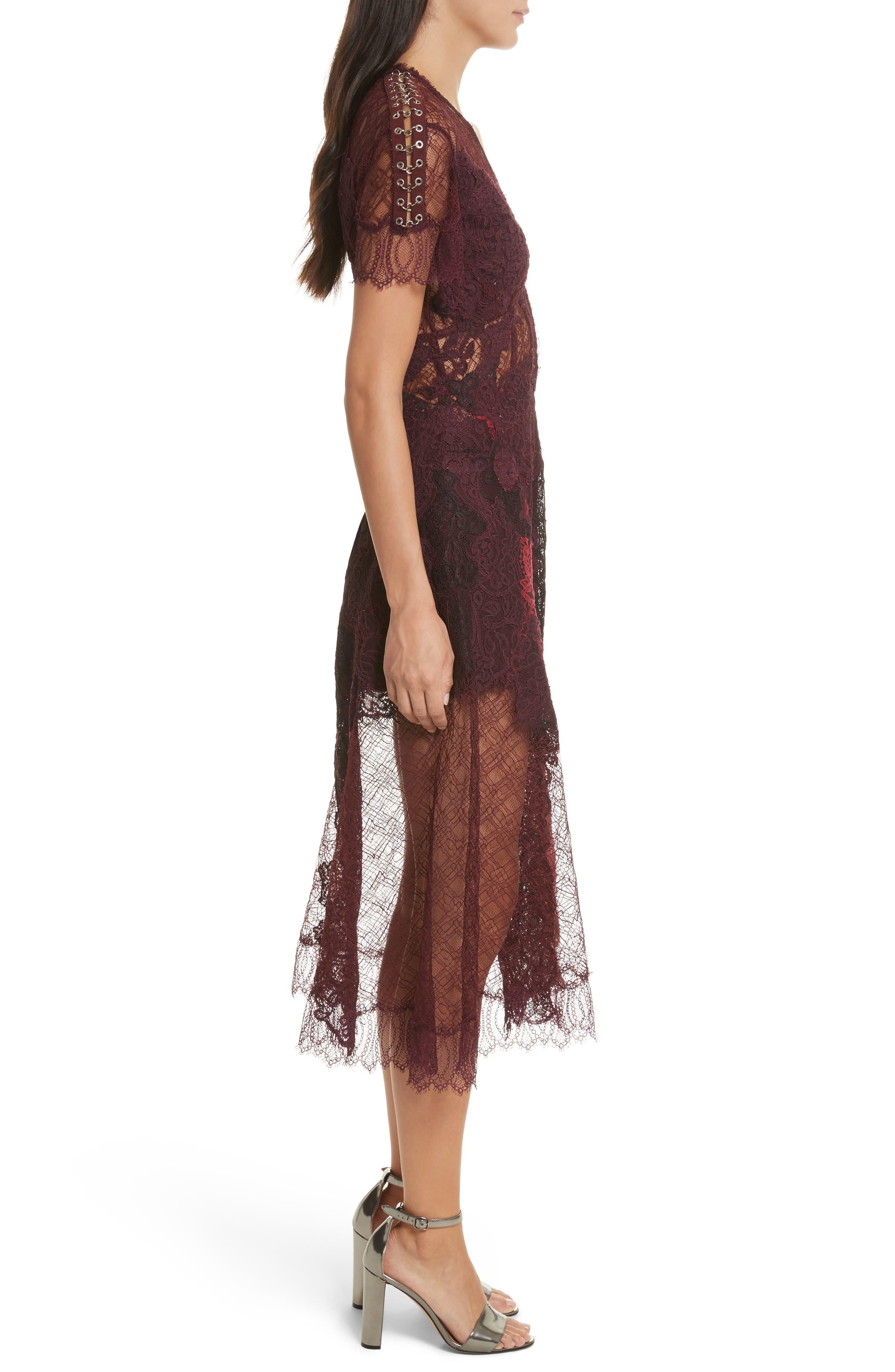 Grommet Detail Lace Dress,                             Alternate thumbnail 3, color,