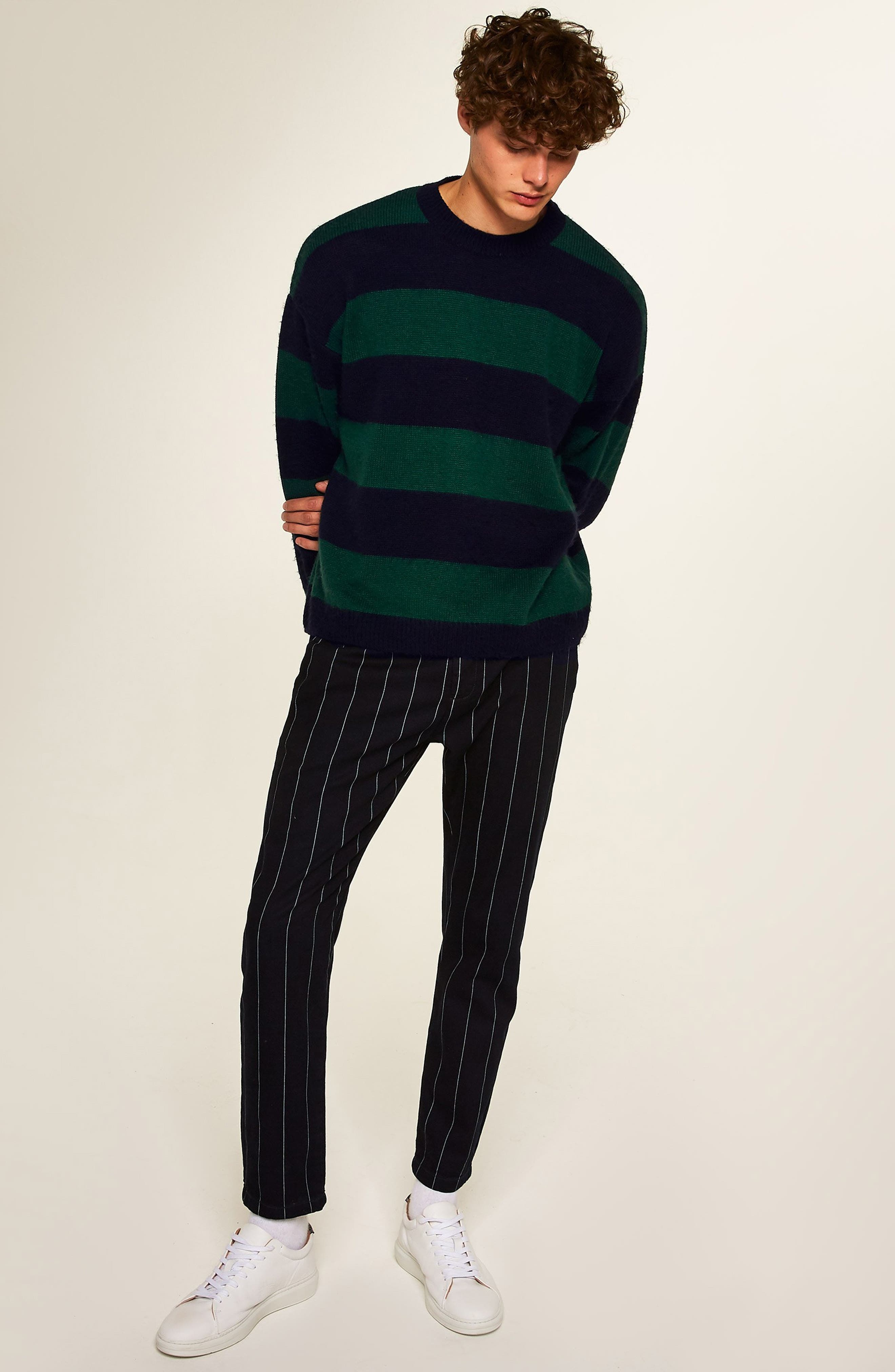 Block Stripe Classic Fit Sweater,                             Alternate thumbnail 5, color,                             GREEN MULTI