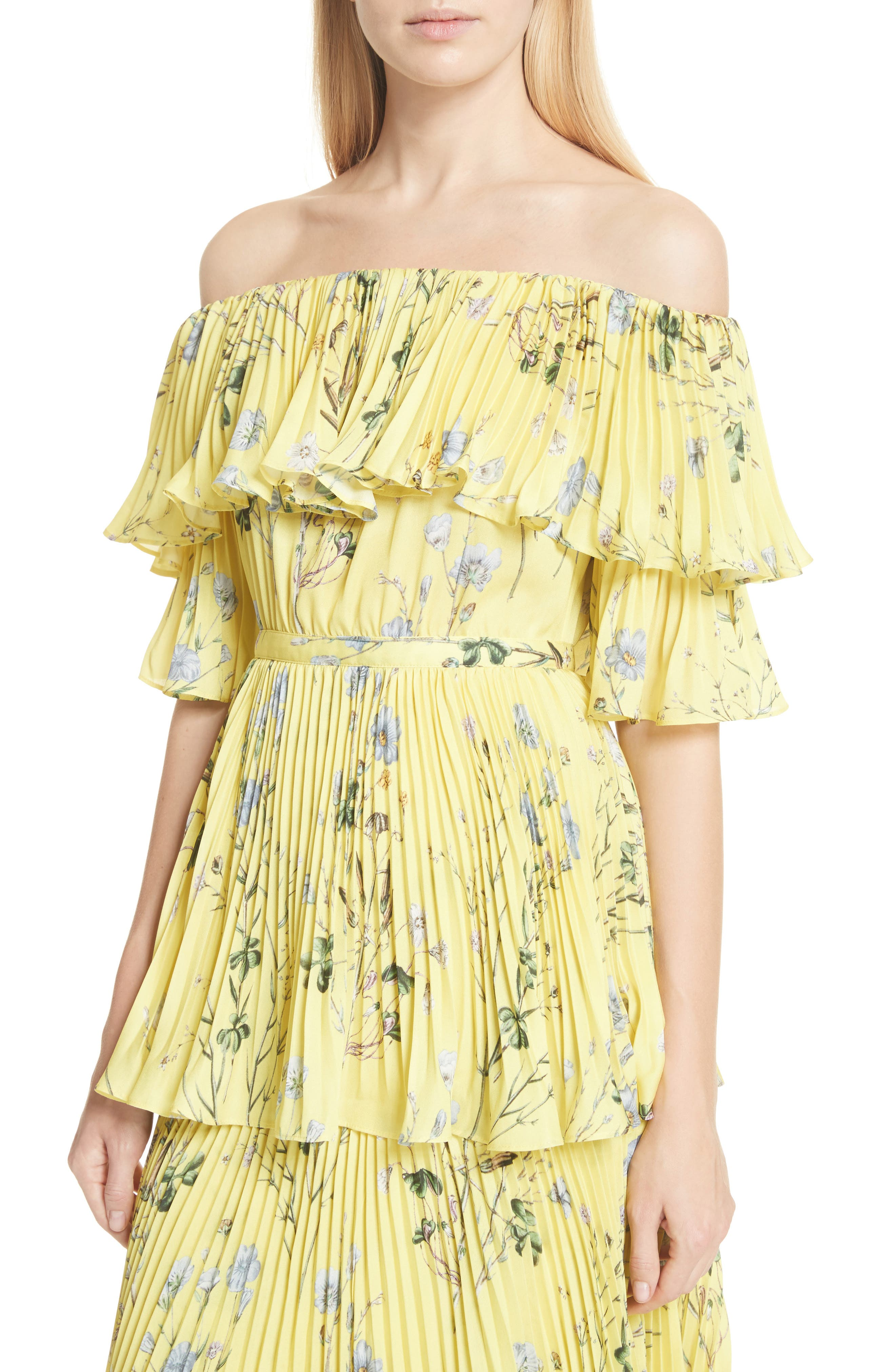 Floral Pleated Tiered Dress,                             Alternate thumbnail 4, color,                             700
