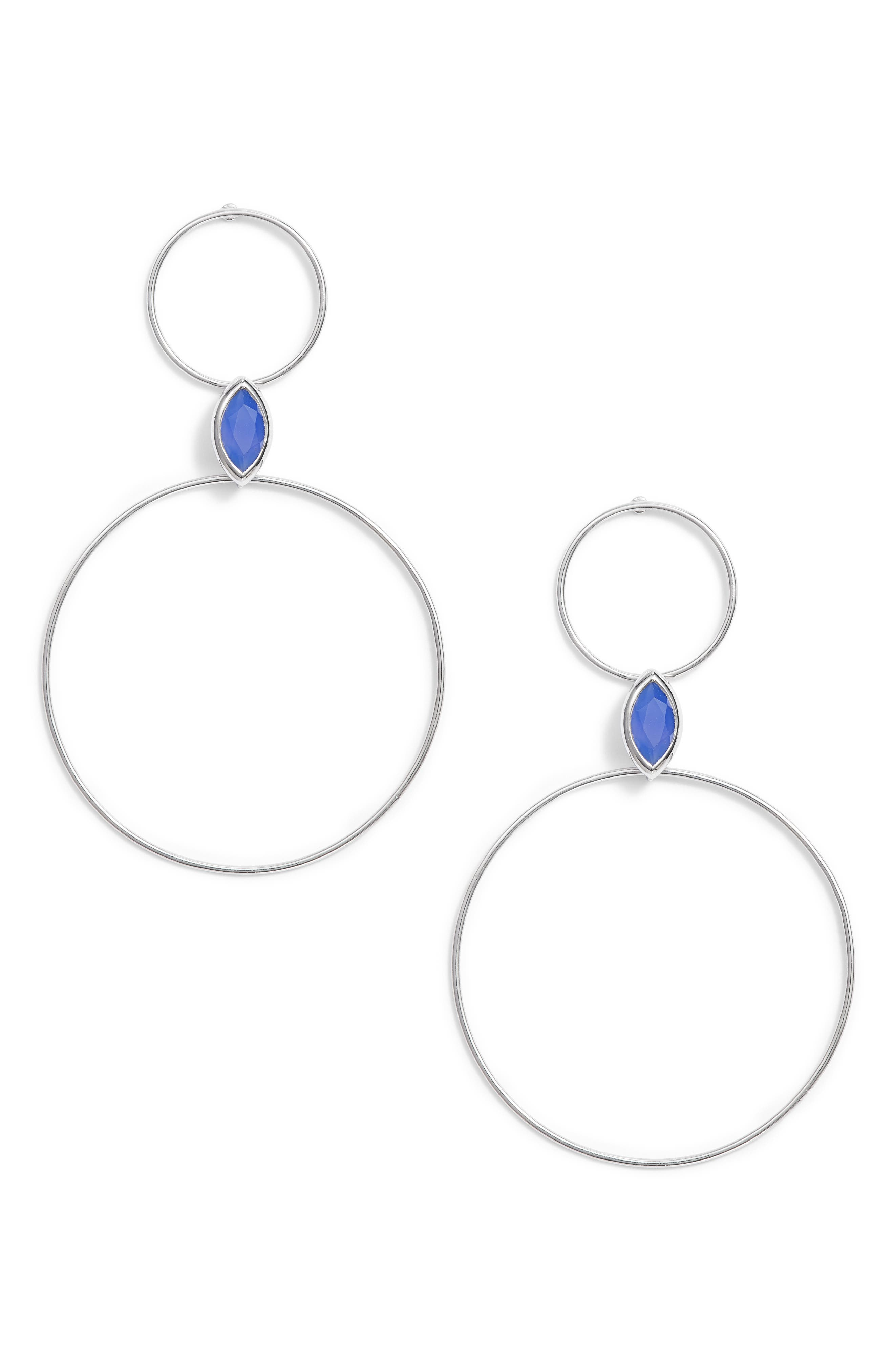 Double Circle Stone Drop Earrings,                             Main thumbnail 1, color,                             040