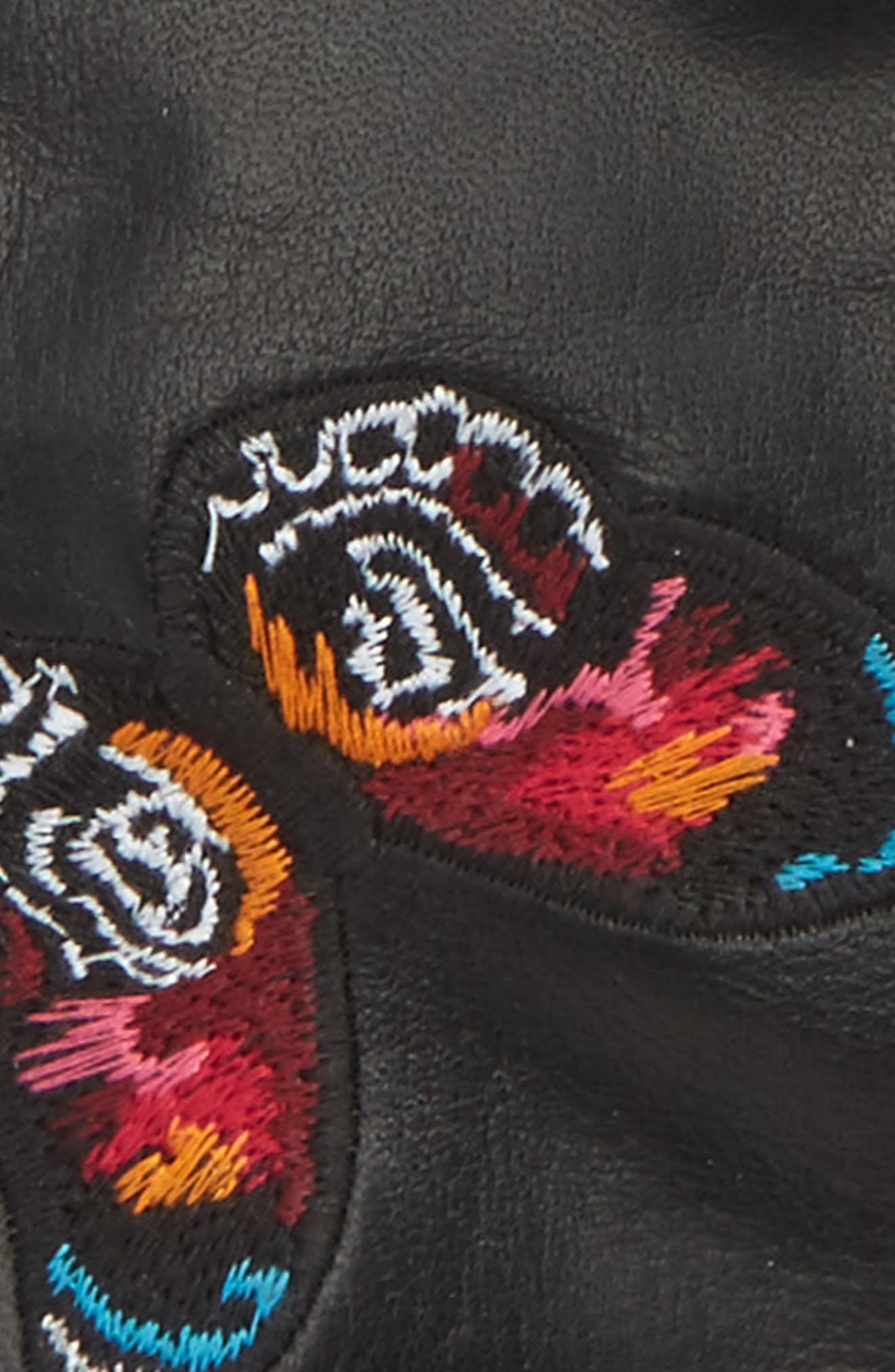 Embroidered Leather Gloves,                             Alternate thumbnail 2, color,                             001