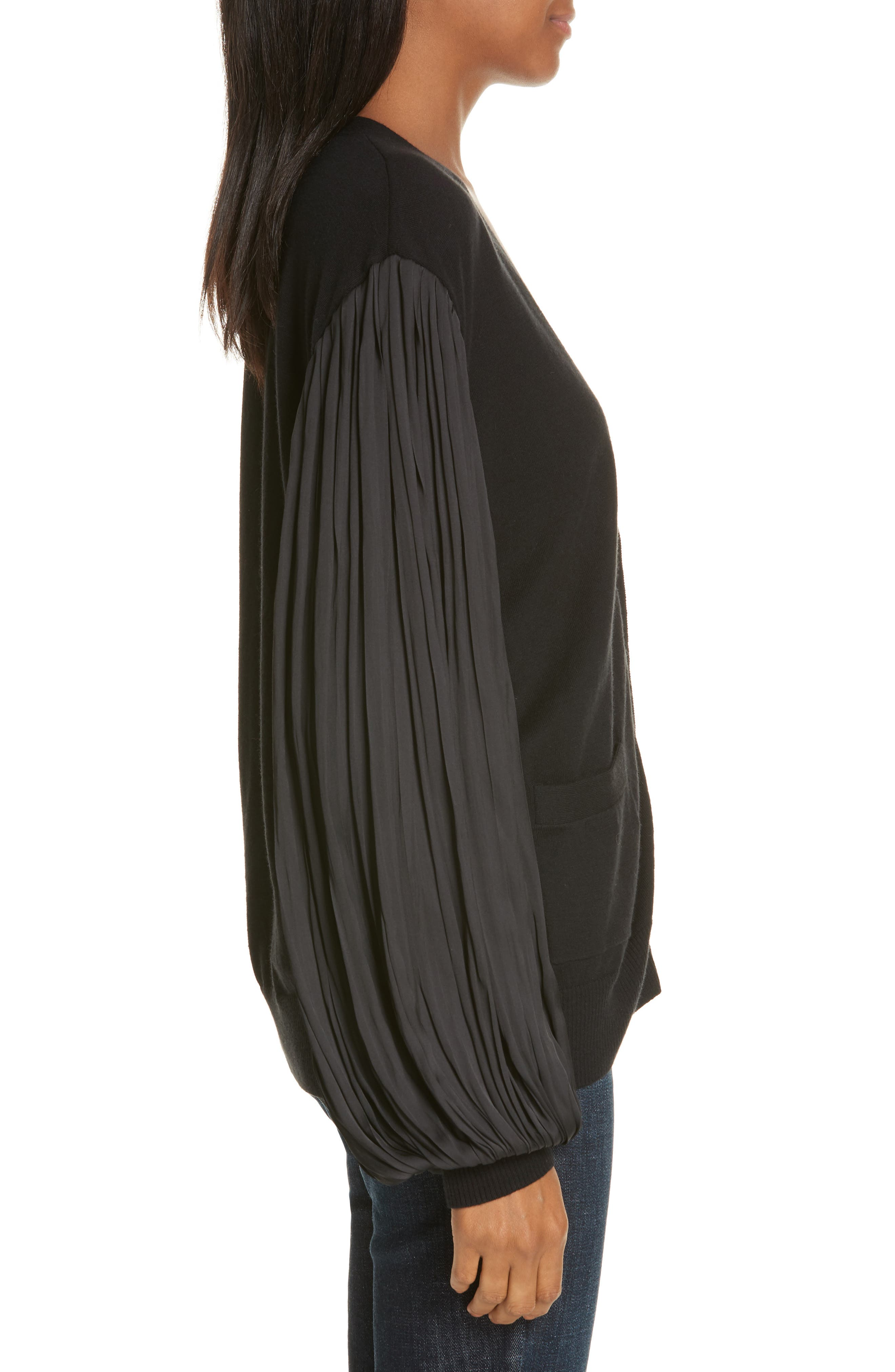 Pleated Balloon Sleeve Cotton Cashmere Cardigan,                             Alternate thumbnail 3, color,                             BLACK