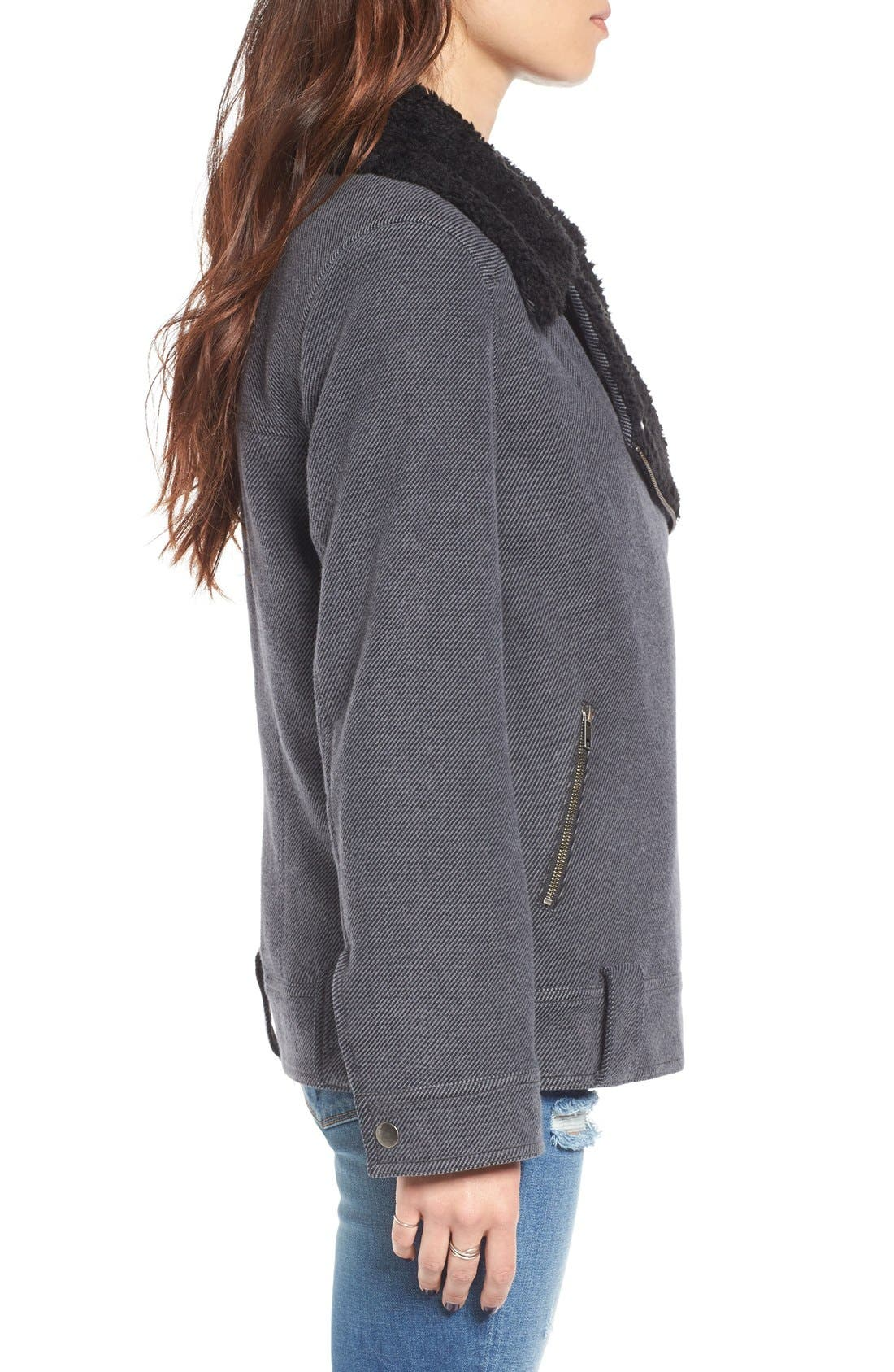Oversized Faux Shearling Lined Moto Jacket,                             Alternate thumbnail 3, color,                             021